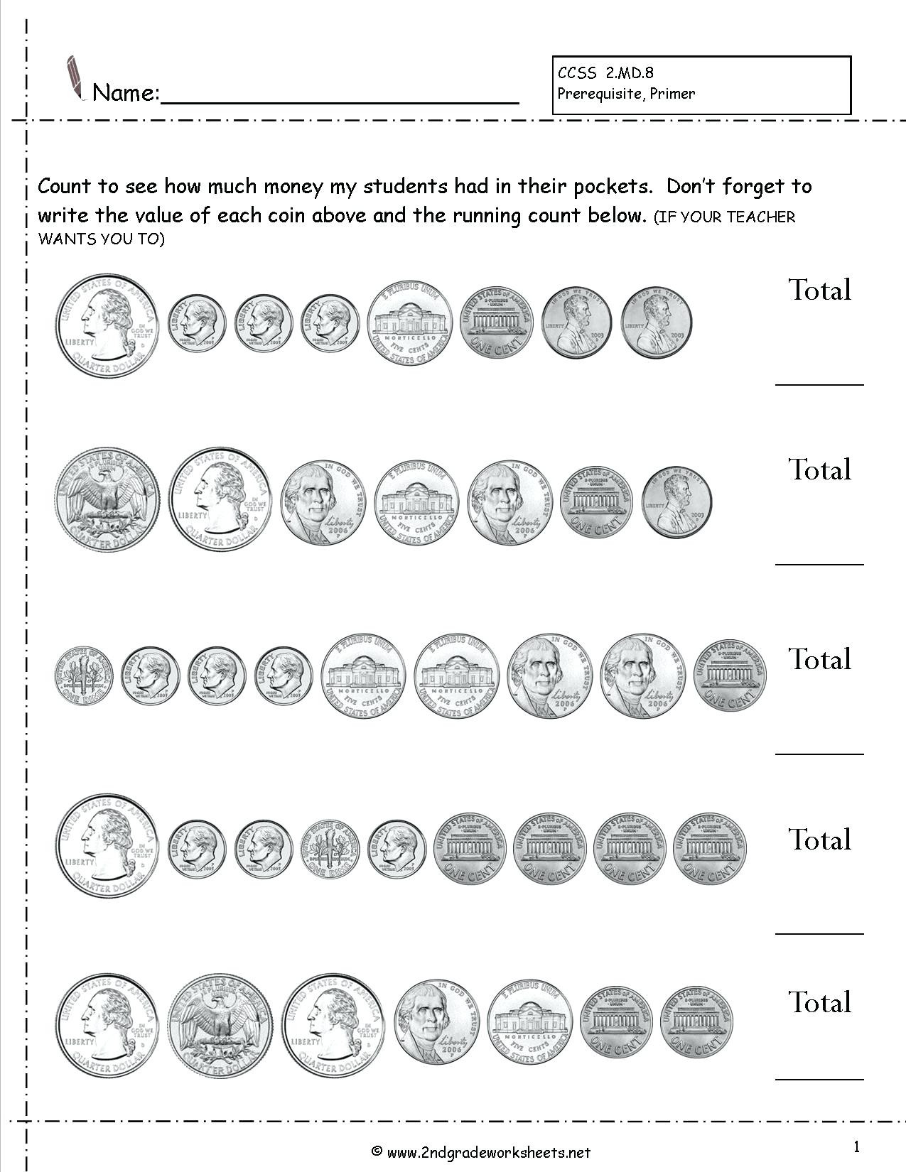 3rd Grade Money Worksheets Count Money Worksheet Ball Game Treats Learning to Count