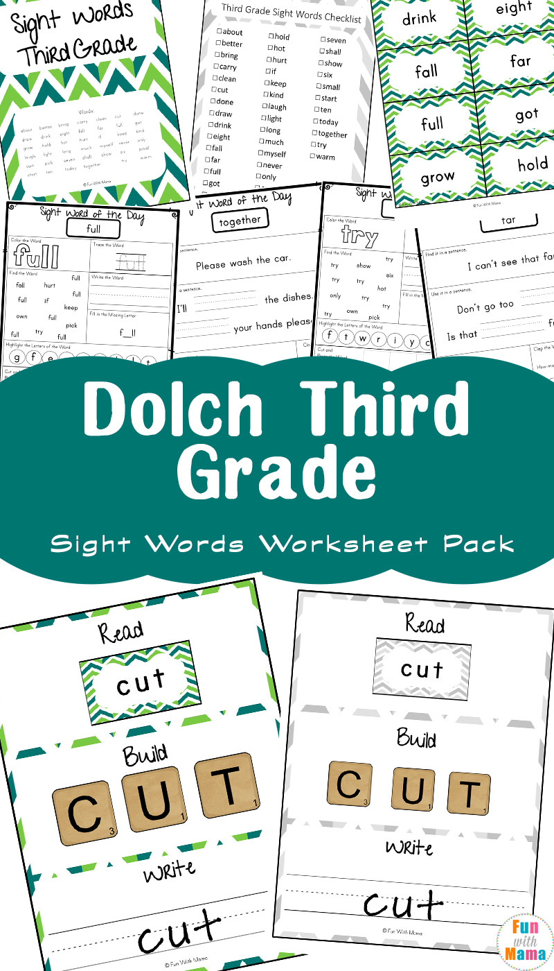 3rd Grade Sight Words Worksheets Free Dolch Third Grade Sight Words Worksheets Fun with Mama