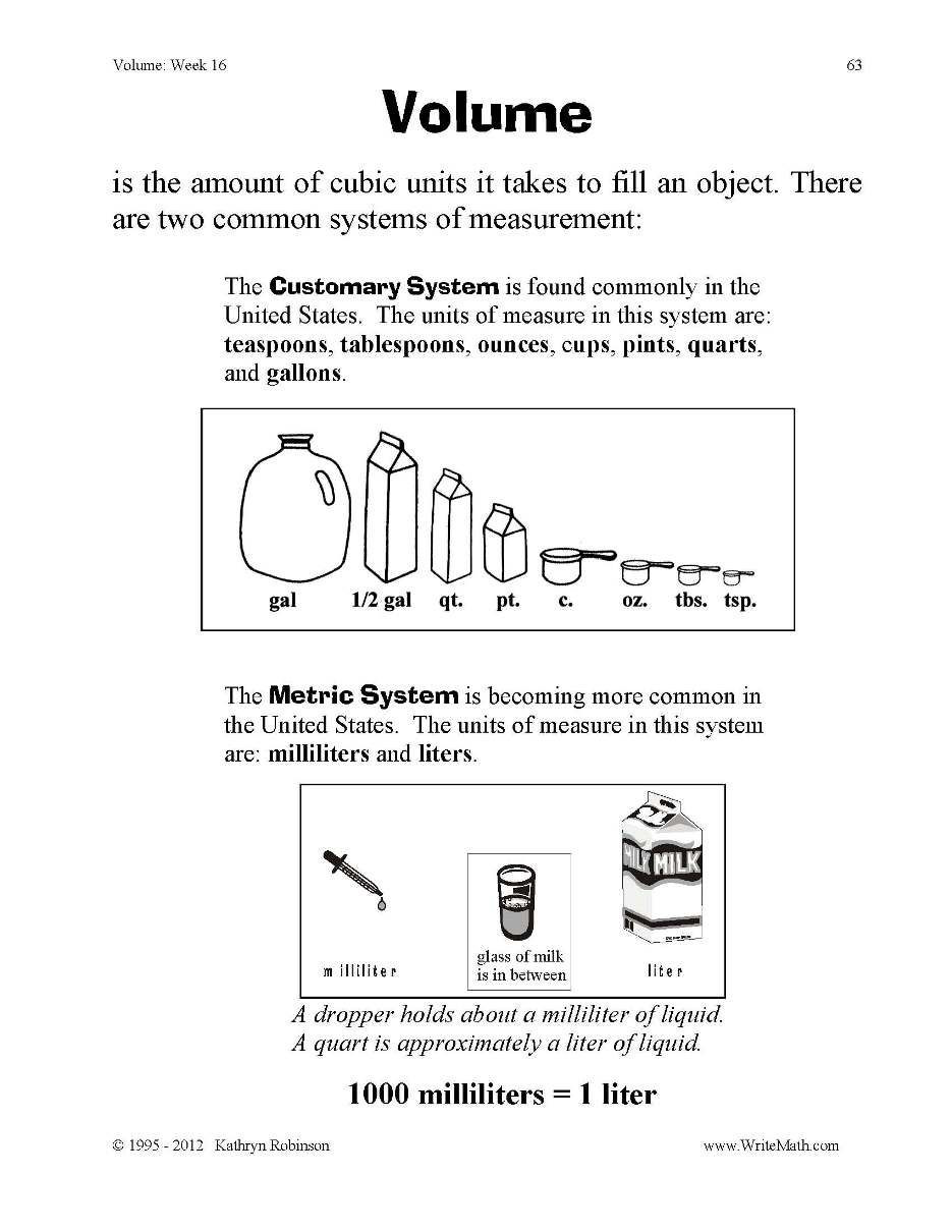 3rd Grade Volume Worksheets Metric System 3rd Grade Google Search