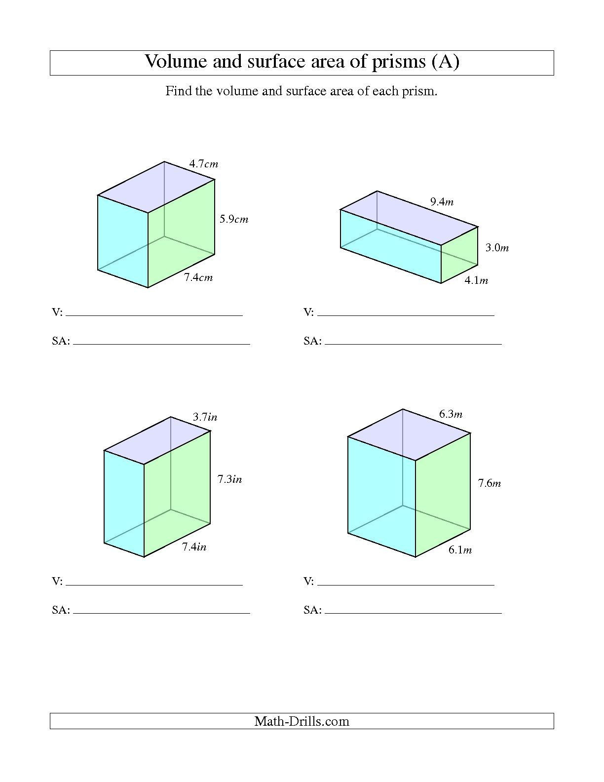 3rd Grade Volume Worksheets the Volume and Surface area Of Rectangular Prisms with