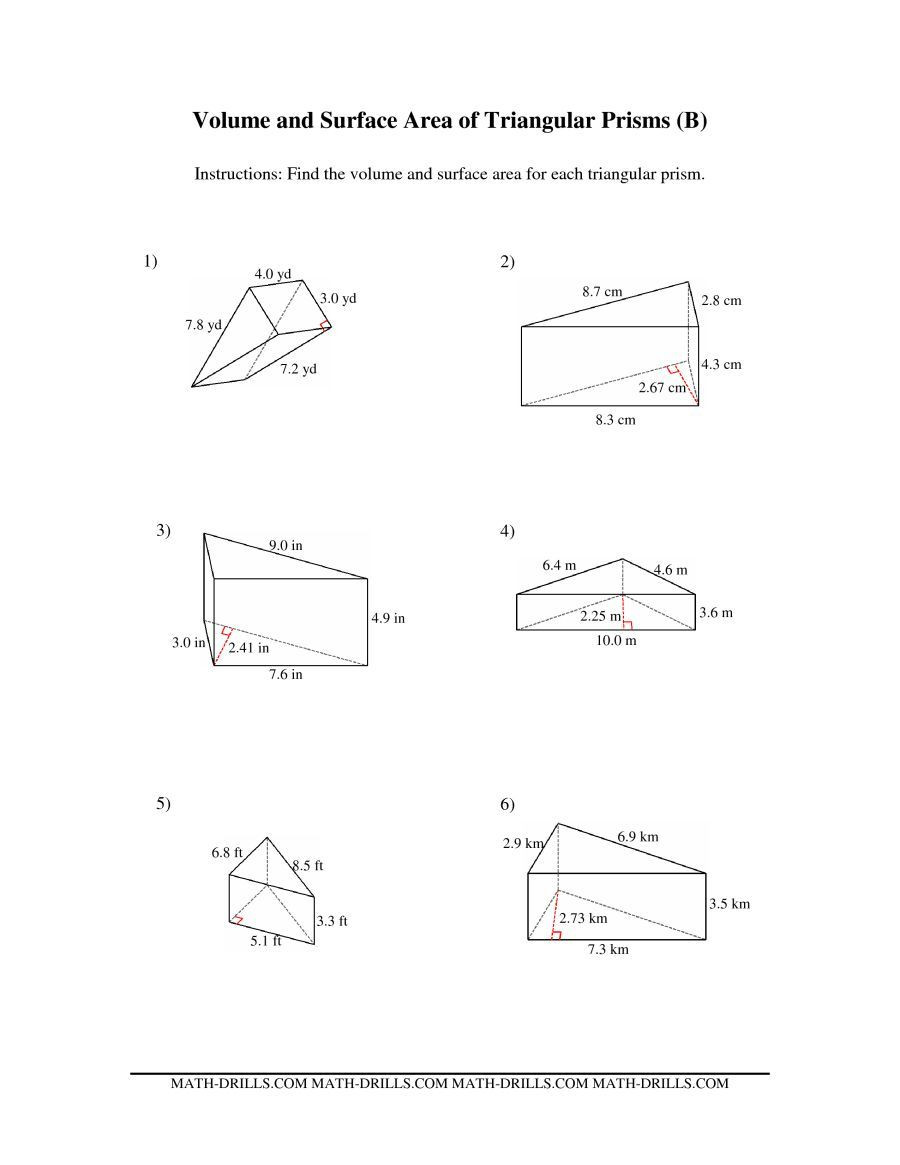 3rd Grade Volume Worksheets the Volume and Surface area Of Triangular Prisms B Math