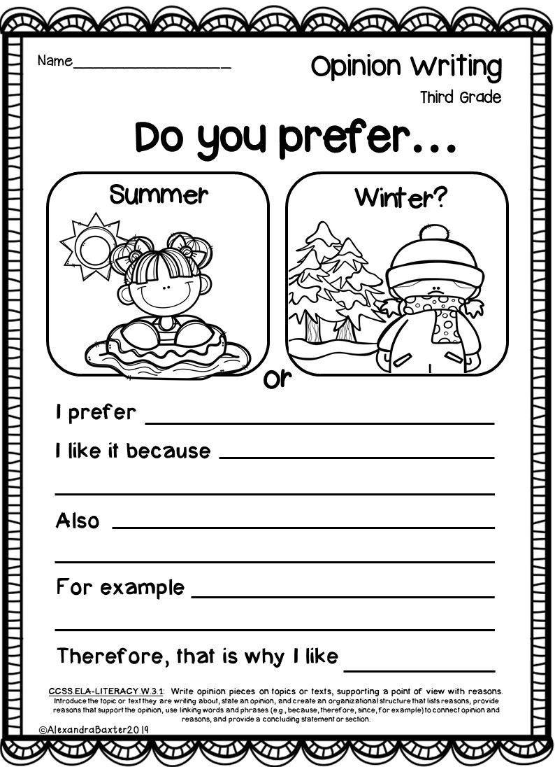 3rd Grade Writing Worksheets Third Grade Opinion Writing Prompts and Worksheets In 2020