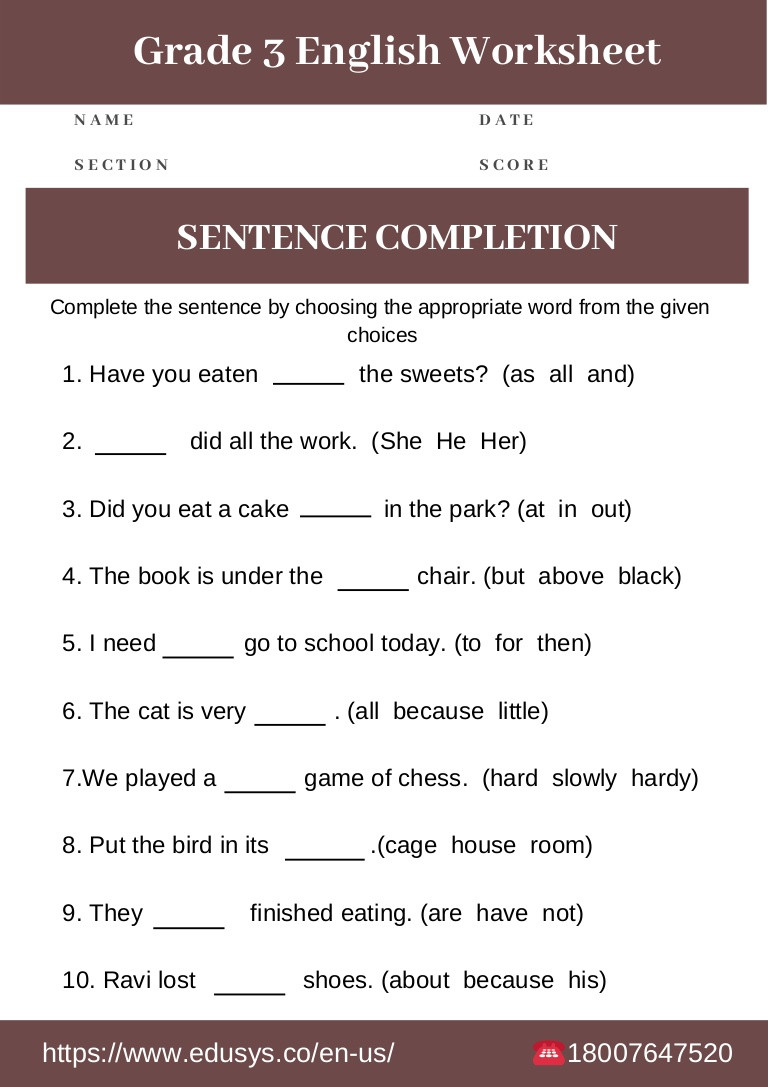 4th Grade English Worksheets 3rd Grade English Grammar Worksheet Free Pdf