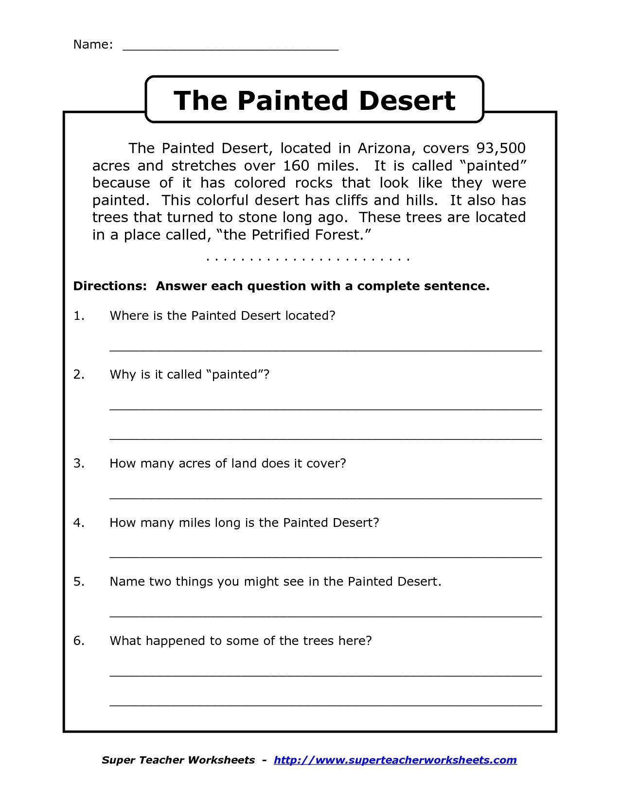 4th Grade English Worksheets Prehension Worksheet for 1st Grade Y2 P3 the Painted