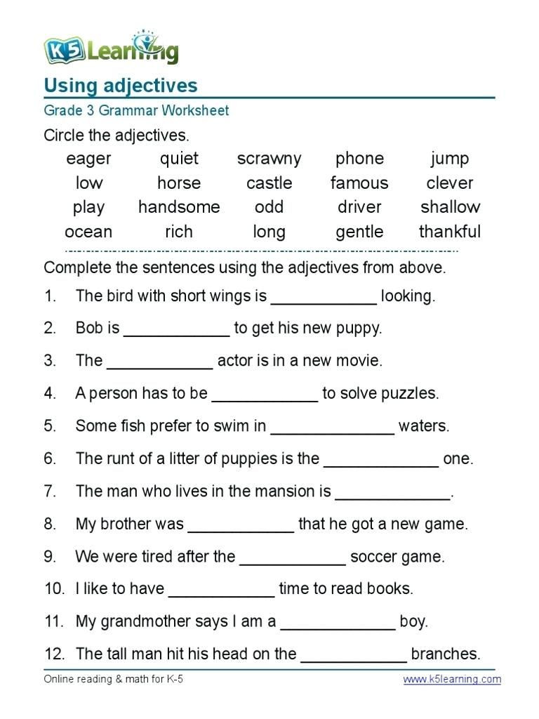4th Grade English Worksheets Worksheet English Grammar Worksheets for Grad On Worksheet