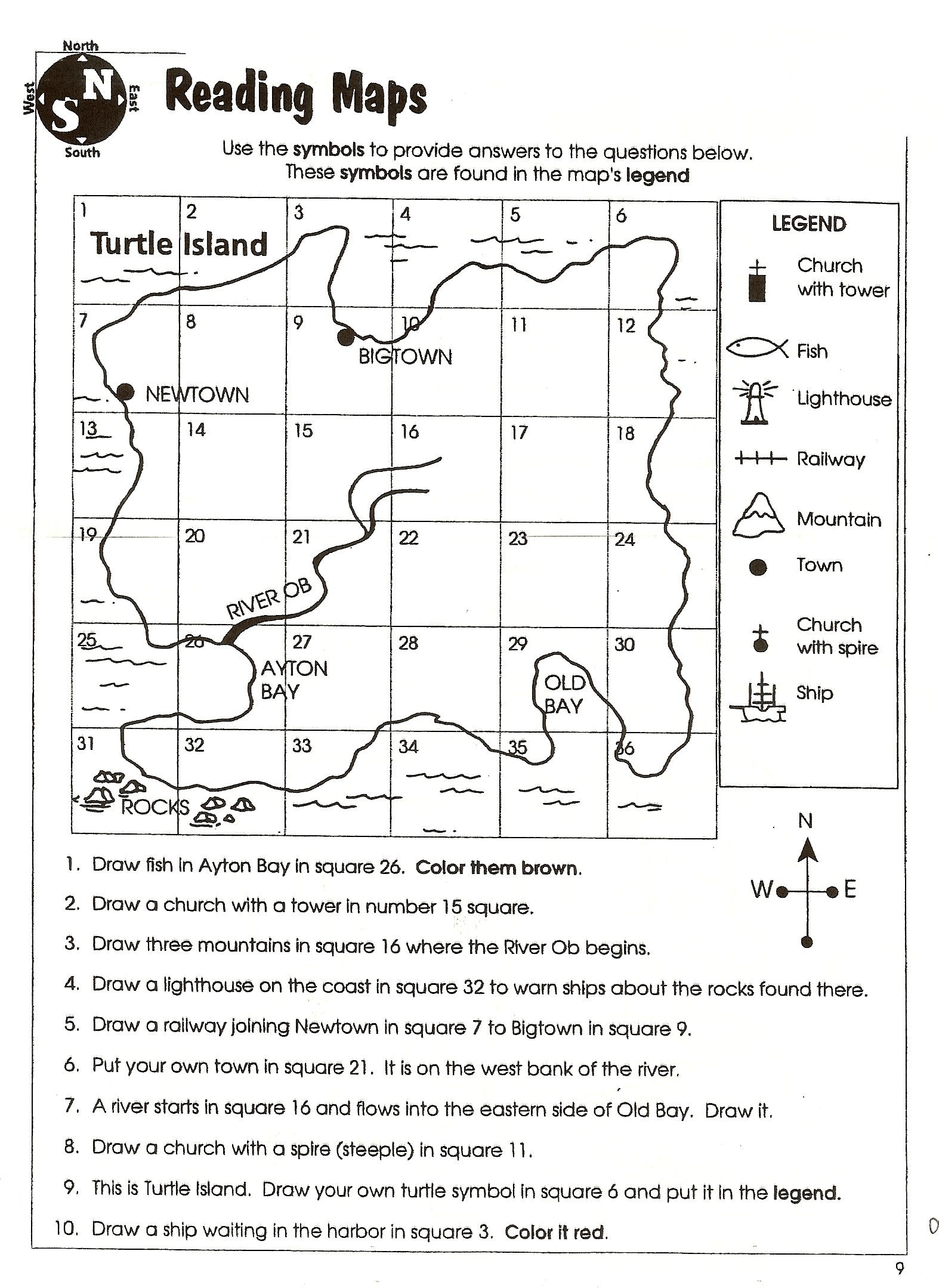 4th Grade Map Skills Worksheets social Stu S Skills