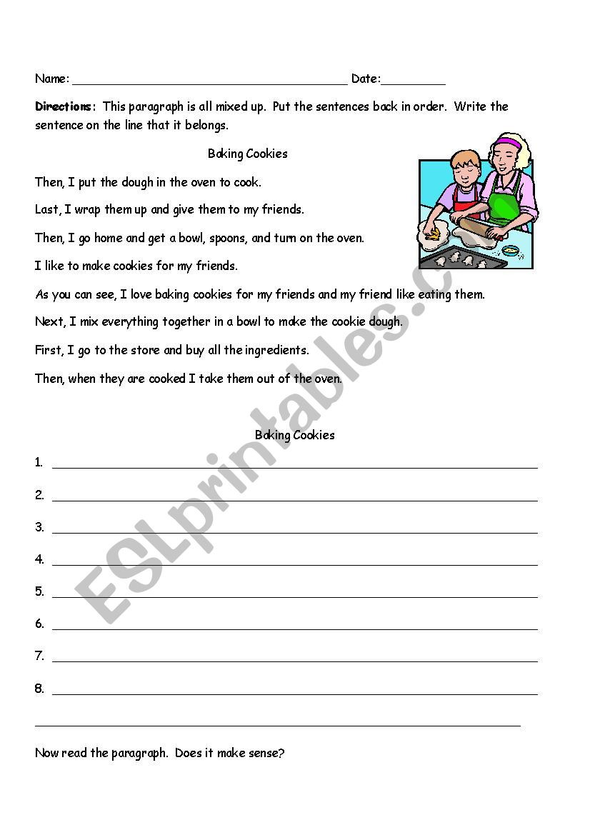 4th Grade Paragraph Writing Worksheets Sequencing Paragraph Baking Cookies Esl Worksheet by