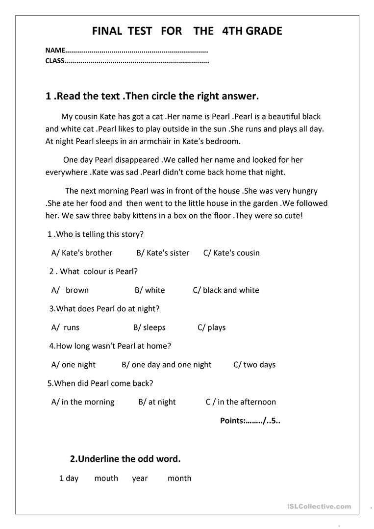 4th Grade Test Prep Worksheets Final Test for the 4th Grade English Esl Worksheets Distance