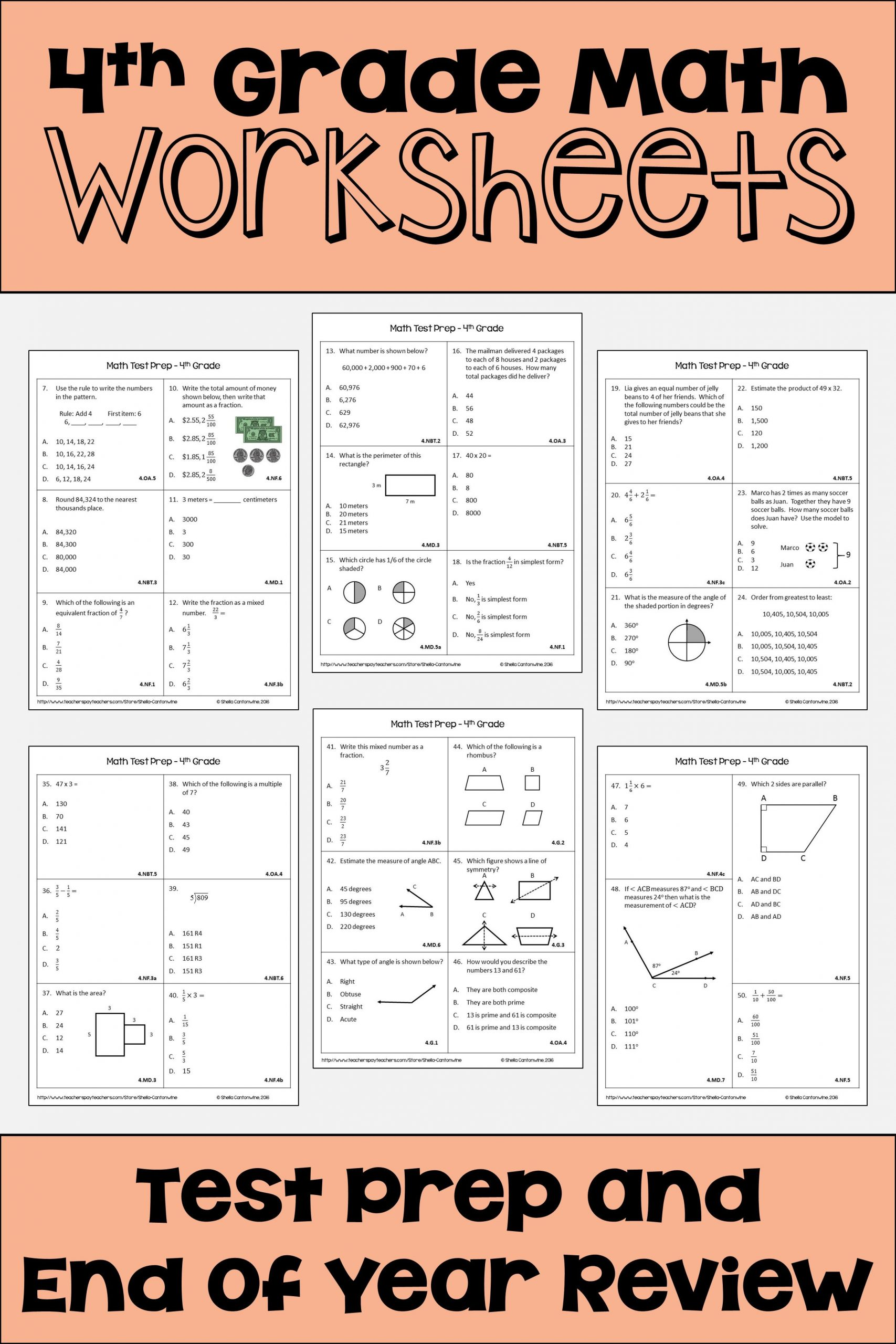These 4th Grade math worksheets are fun for students and