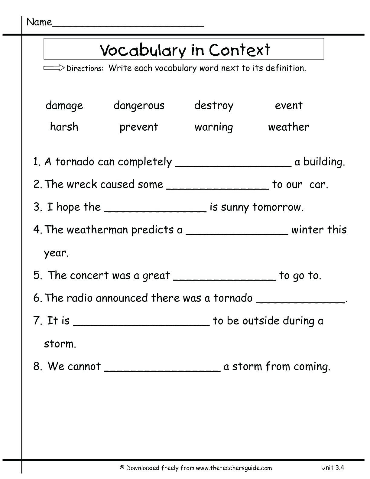 4th Grade Vocabulary Worksheets 3rd Grade Vocabulary Worksheets for Educations Free Math