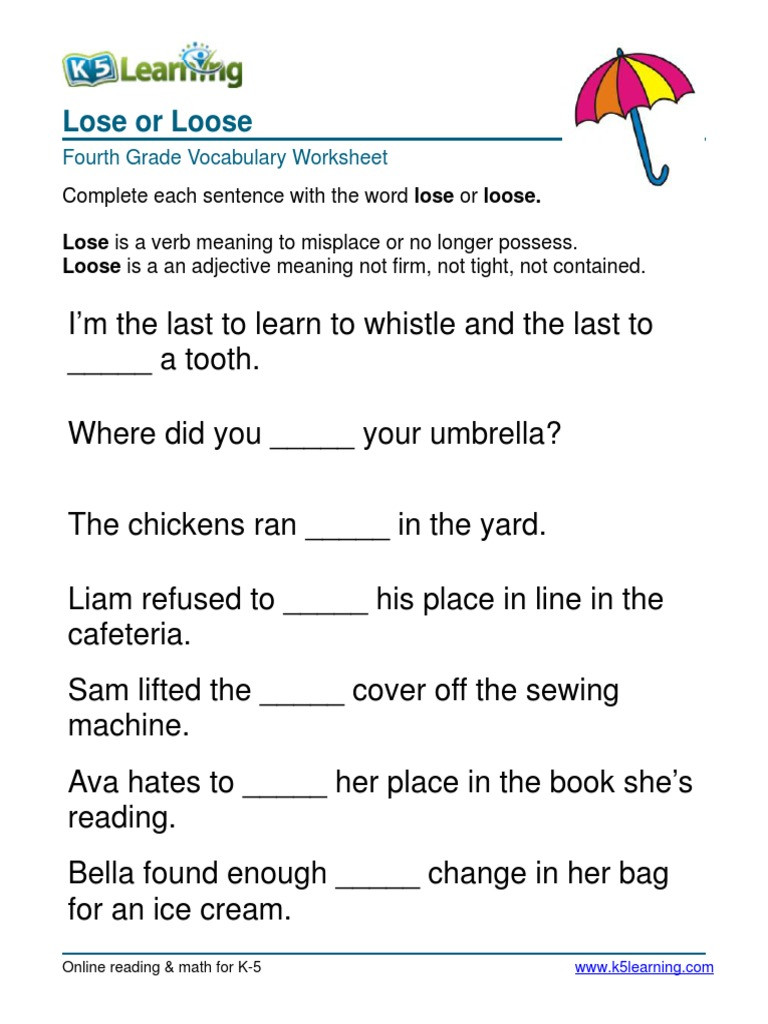 4th Grade Vocabulary Worksheets 4th Grade Lose or Loose Sentences 6