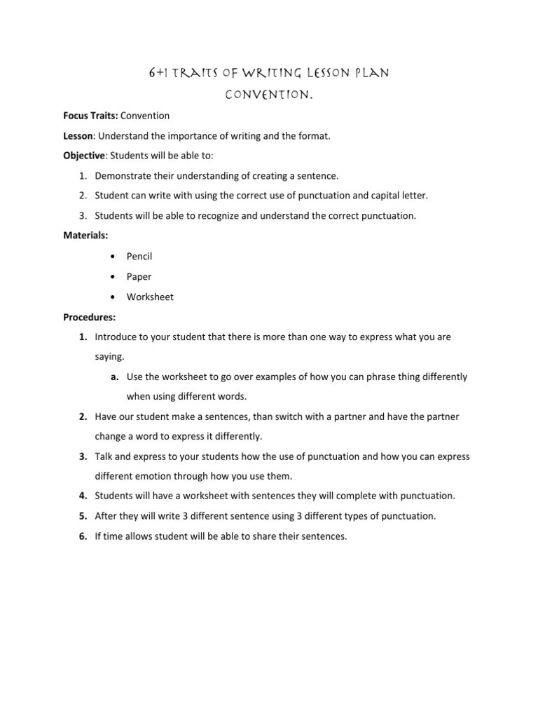 6 Traits Of Writing Worksheets 6 1 Traits Of Writing Lesson Plan Convention