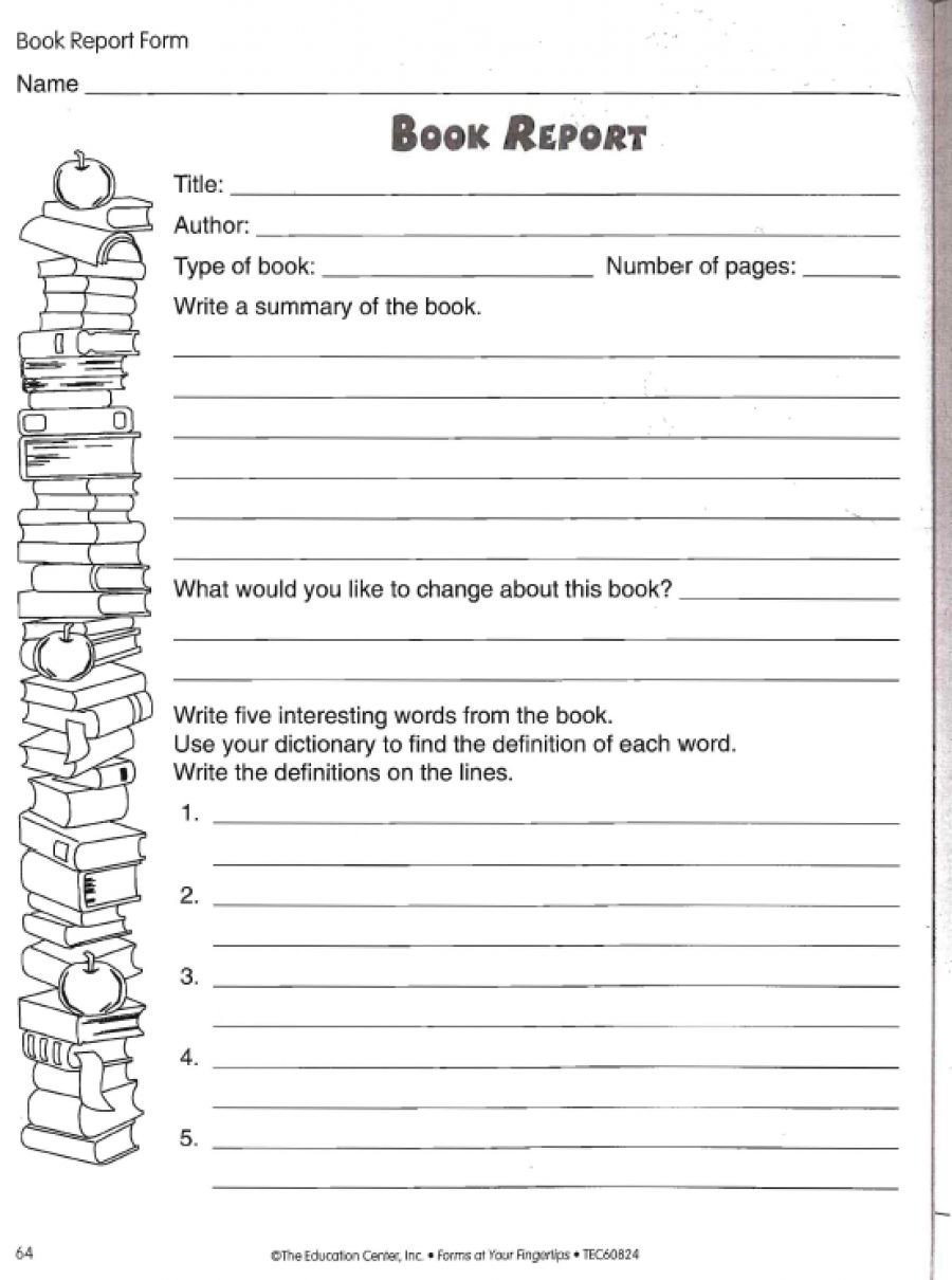 6th Grade Essay Writing Worksheets Book Report Worksheet