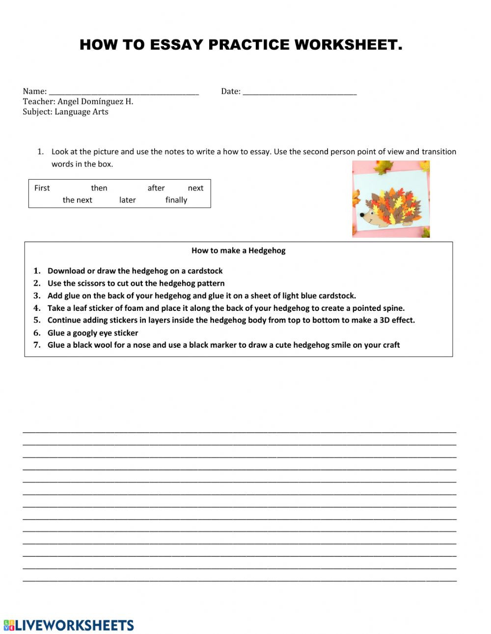6th Grade Essay Writing Worksheets How to Essay Interactive Worksheet