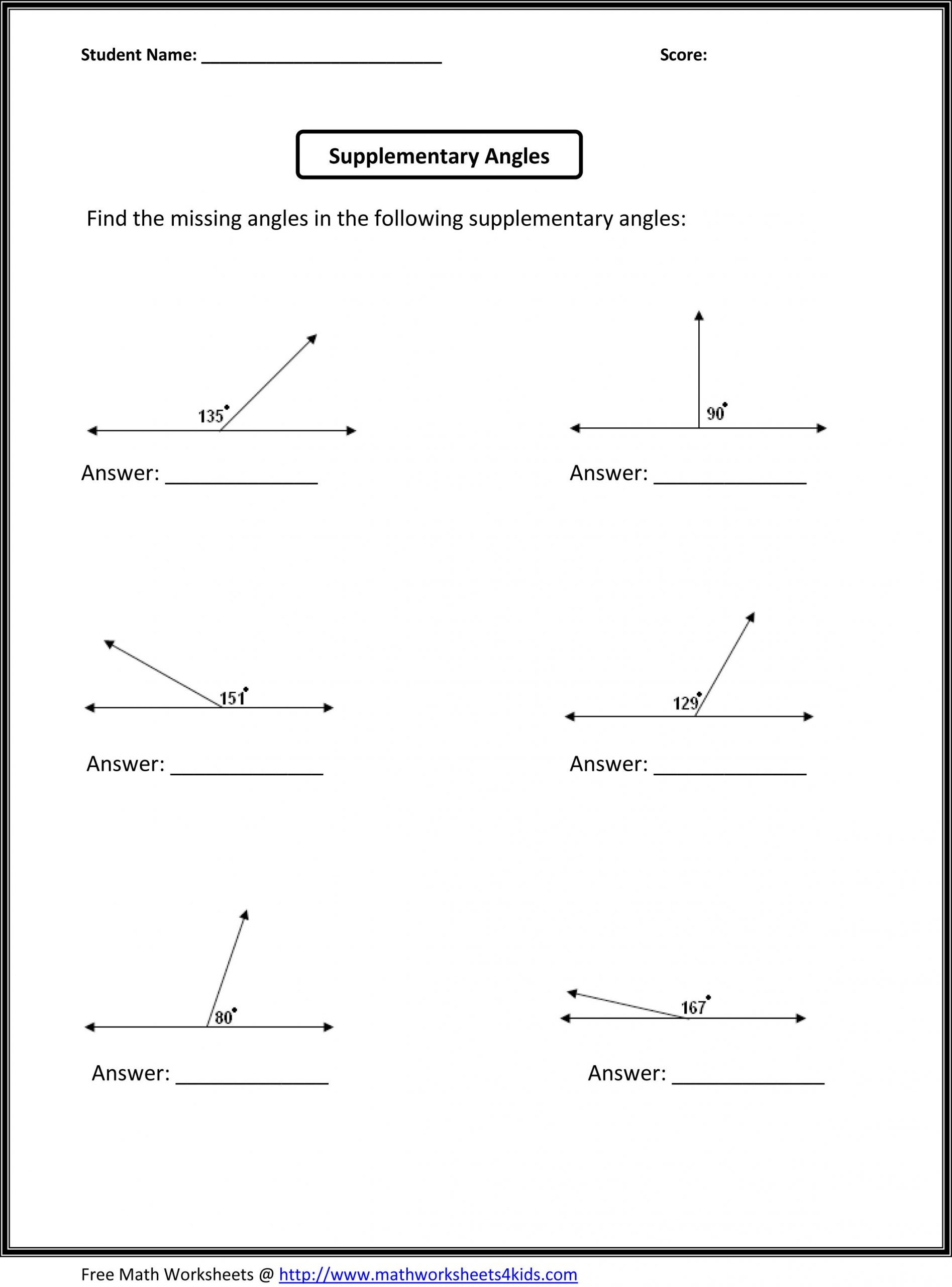 6th Grade Geometry Worksheets Supplementary Angles