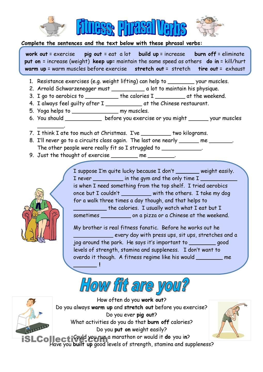 6th Grade Health Worksheets Fitness Phrasal Verbs