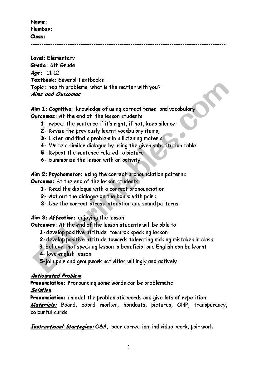 6th Grade Health Worksheets Speaking Lesson Plan for Health Problems Esl Worksheet by