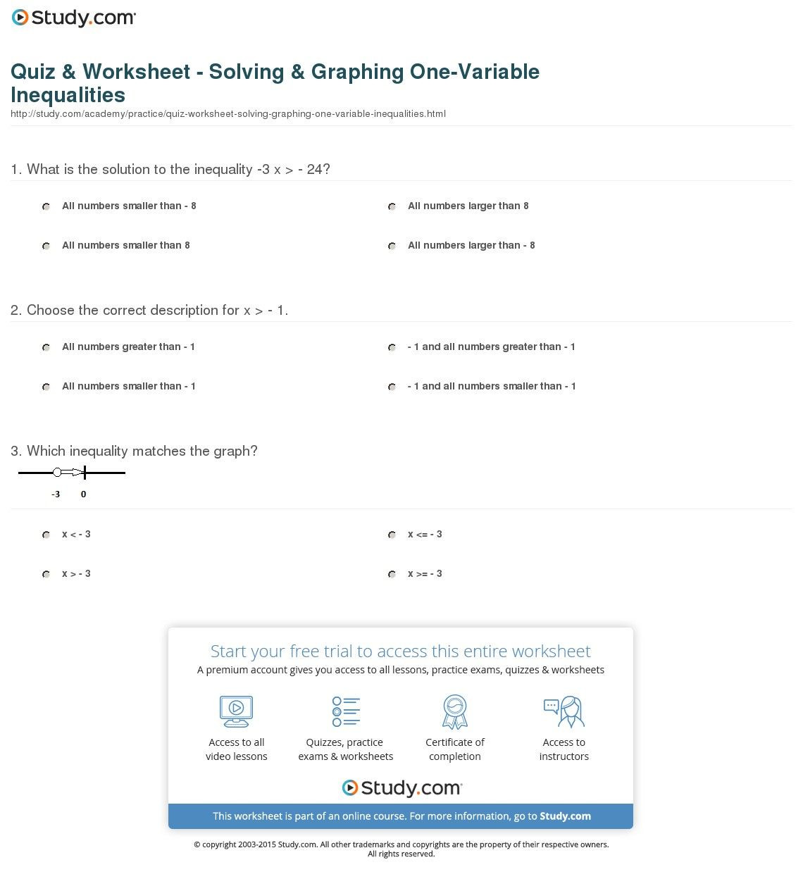 6th Grade Inequalities Worksheet Quiz Worksheet solving Graphing E Variable Inequalities