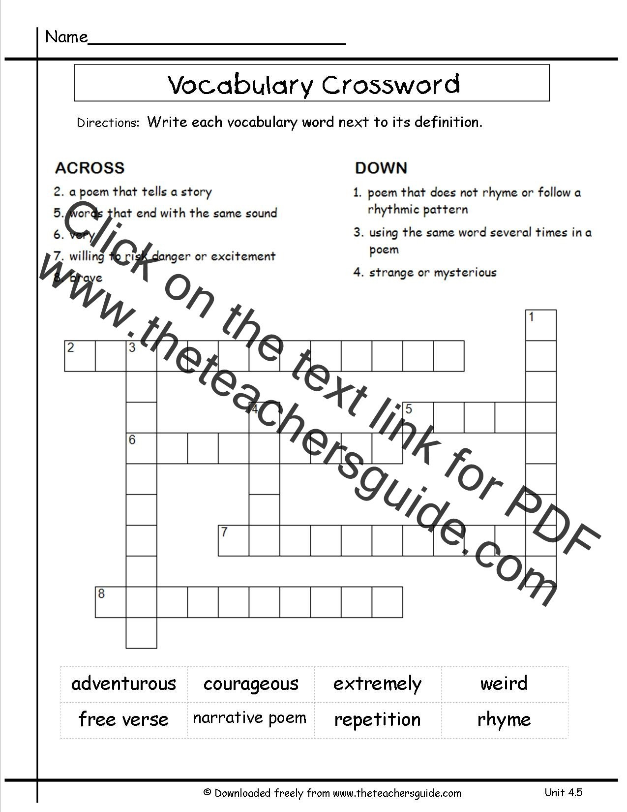 6th Grade Math Crossword Puzzles 6th Grade Math Vocabulary Crossword Puzzles – Jowo
