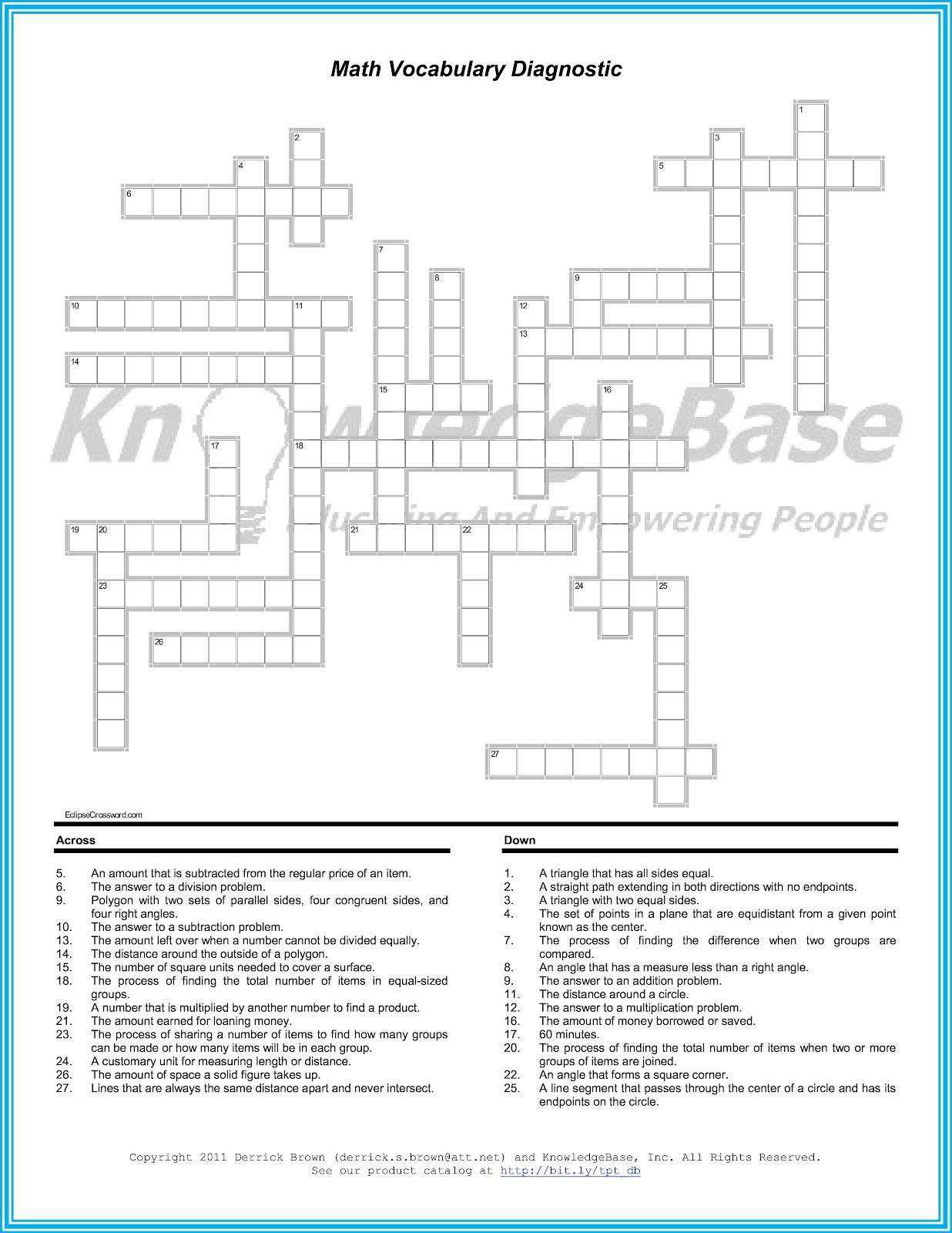 6th Grade Math Crossword Puzzles Geometry Vocabulary Worksheet Pdf