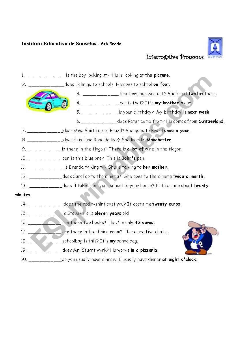 6th Grade Pronoun Worksheets Interrogative Pronouns Esl Worksheet by Lhmoniz