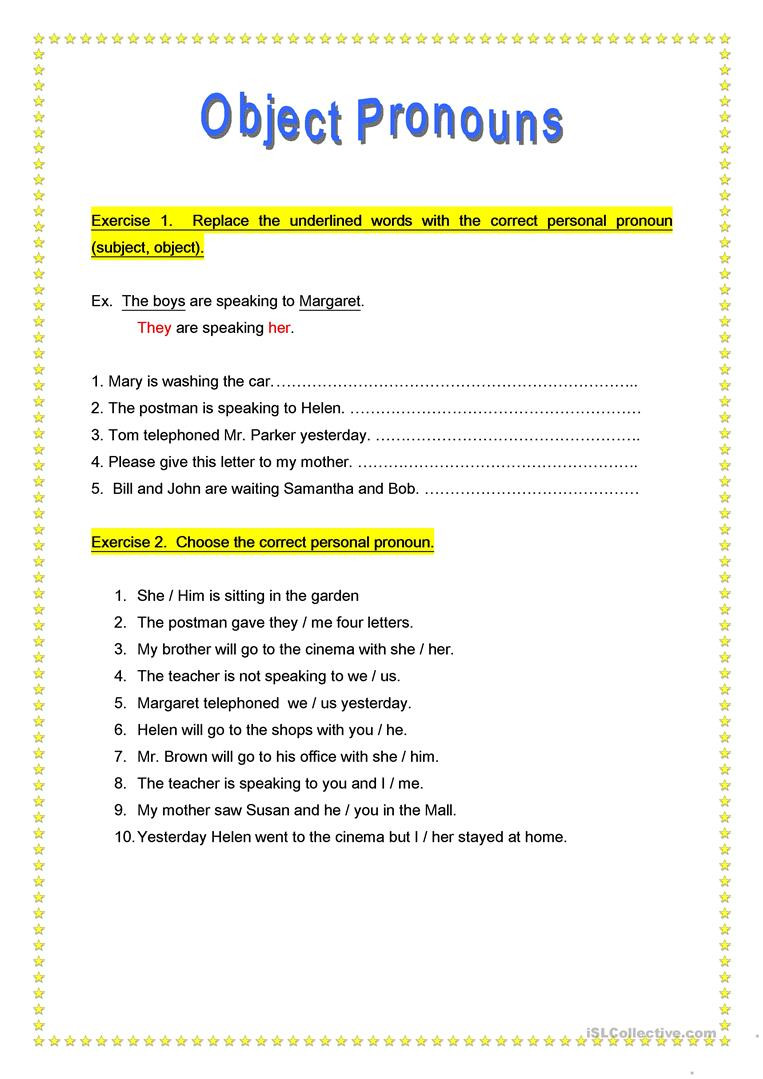 6th Grade Pronoun Worksheets Object Pronouns English Esl Worksheets for Distance Learning