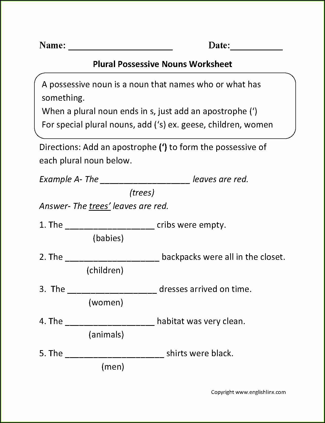 6th Grade Pronoun Worksheets Possessive Pronouns Worksheet 5th Grade