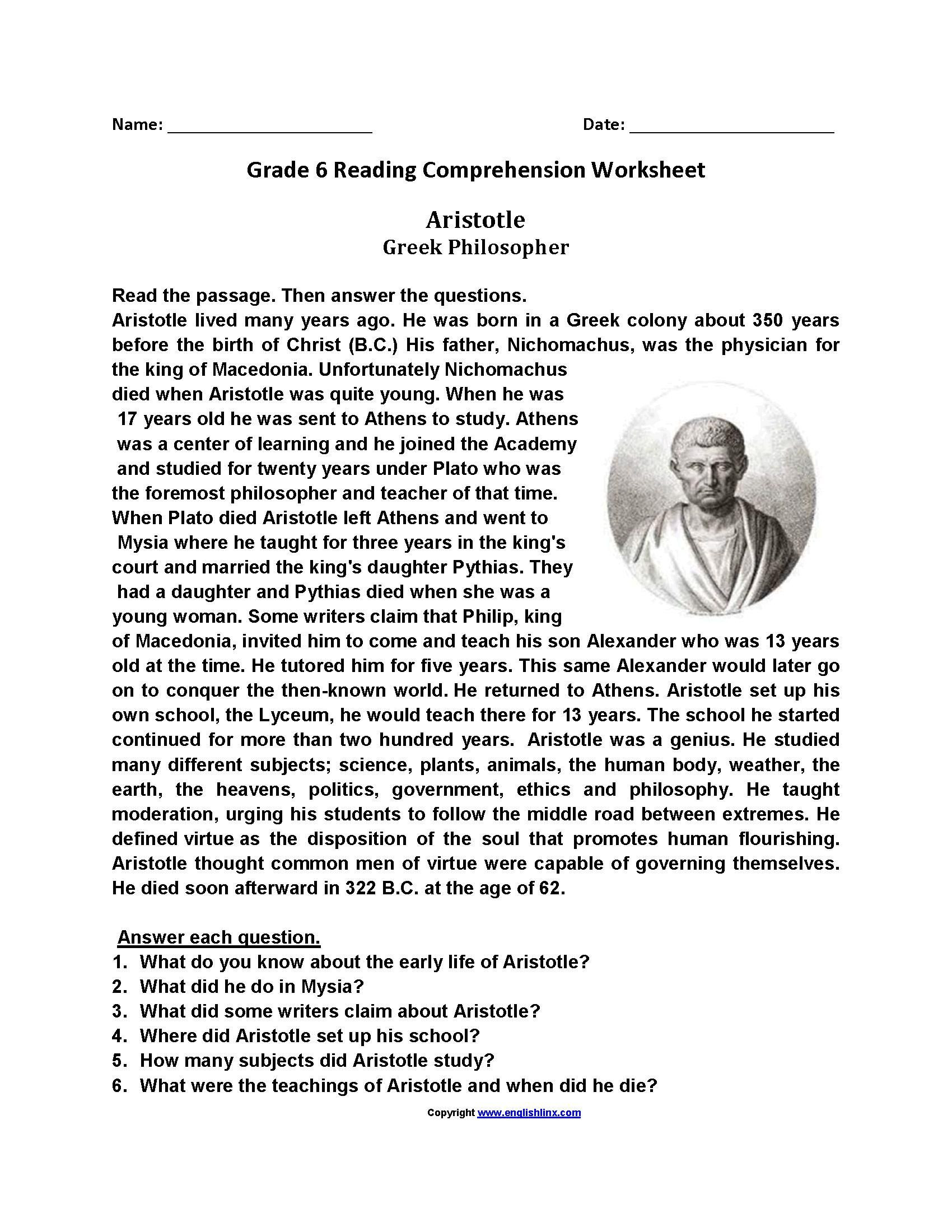 6th Grade Reading Worksheets Printable Free Printable Reading Worksheets for Grade 6 в 2020 г
