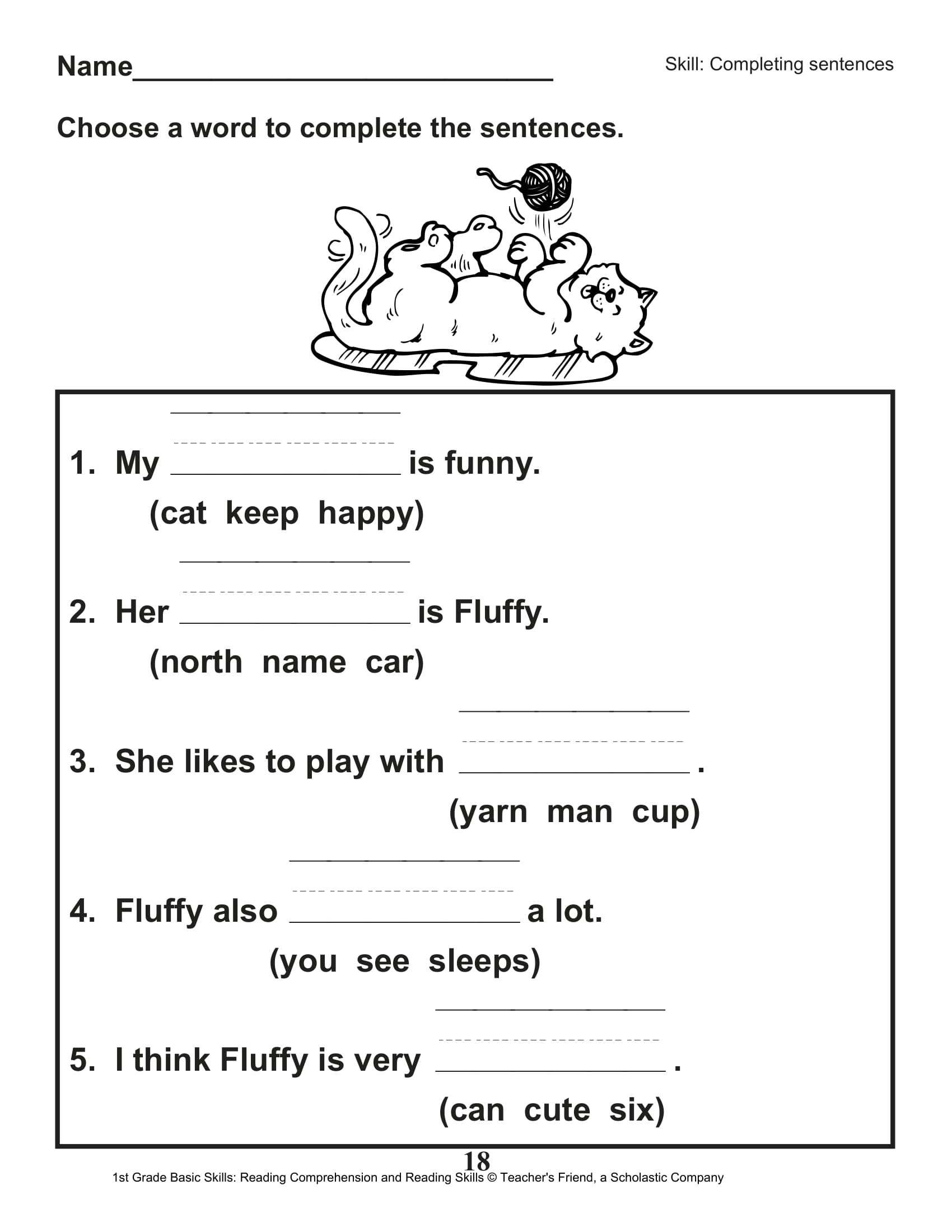 6th Grade Reading Worksheets Printable Math Worksheet 64 1st Grade Reading Skills Image Ideas 2nd