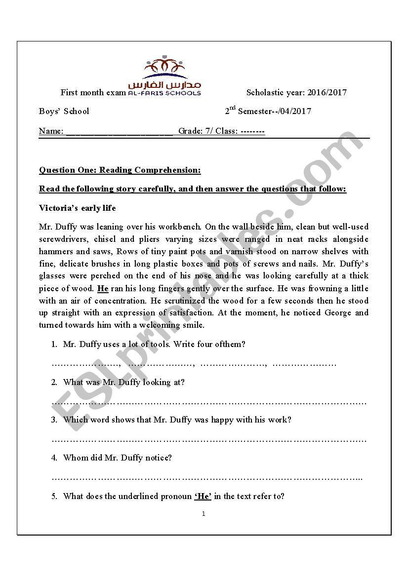 7th Grade Ela Worksheets 7th Grade 1st Exam Esl Worksheet by Mahdmahd