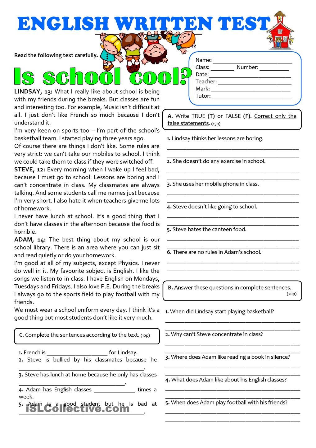 7th Grade Ela Worksheets is School Cool 7th Grade Test