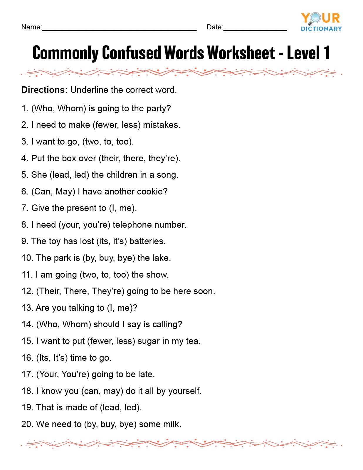 7th Grade Grammar Worksheets Pdf Monly Confused Words Worksheet