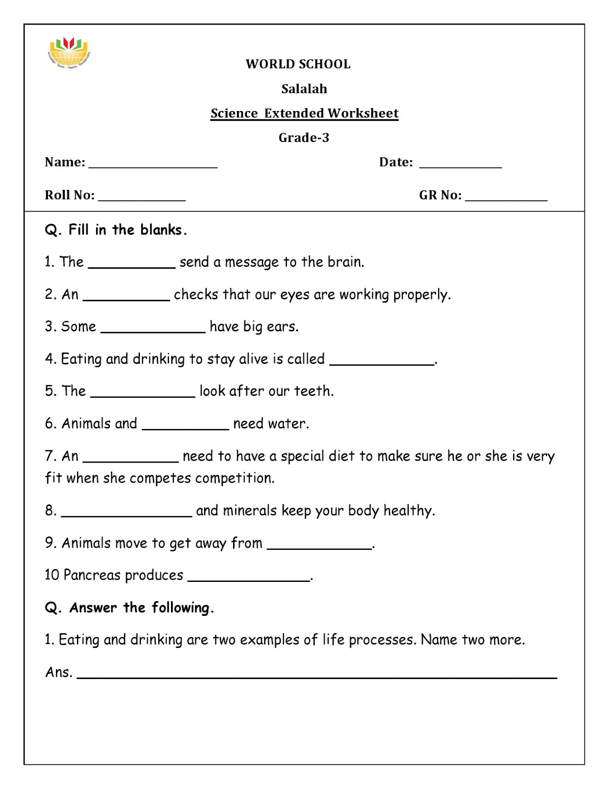 7th Grade Life Science Worksheets Science Worksheets for Grade to Educations Free Reading