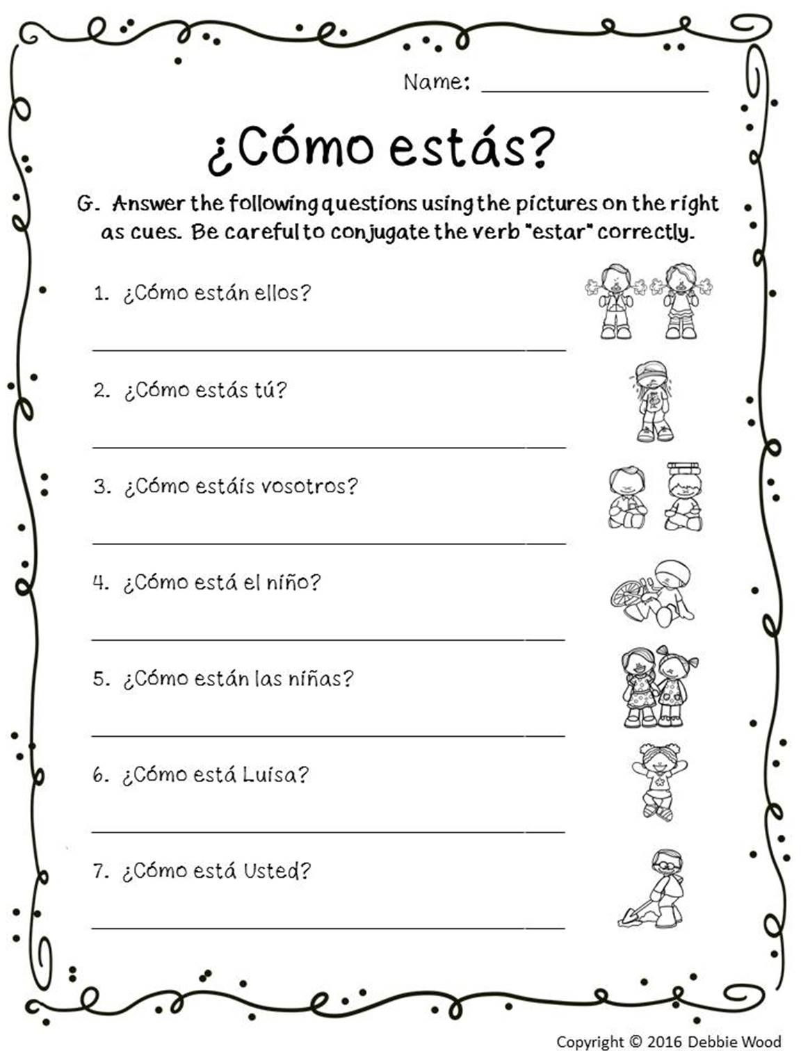 7th Grade Spanish Worksheets Estar with Emotions Estar Posters and Worksheets