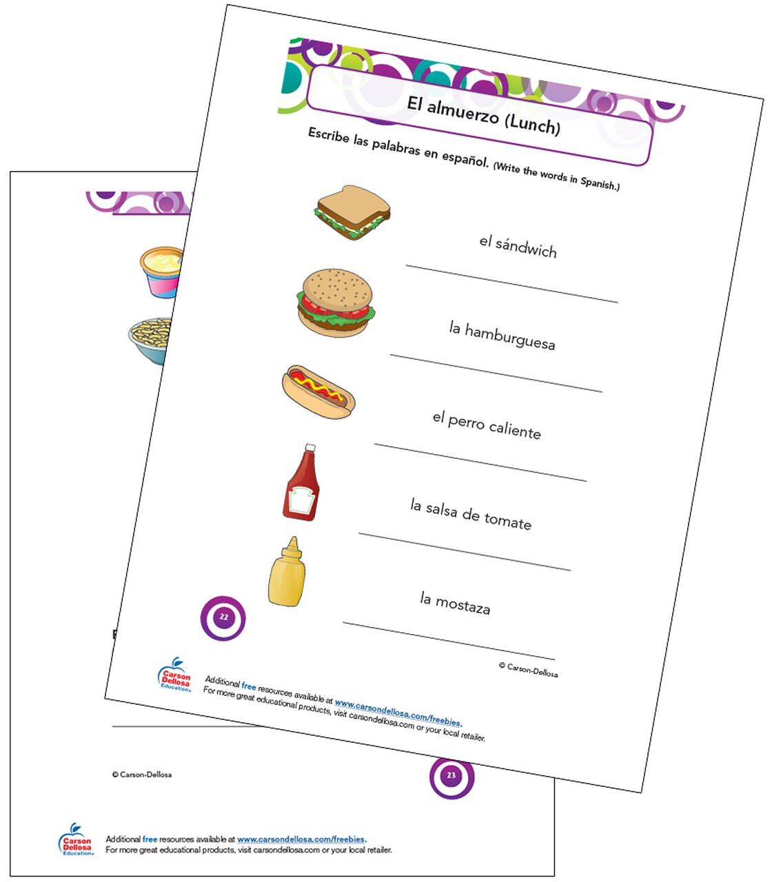 7th Grade Spanish Worksheets Lunch Vocabulary Grade Spanish Free Printable Dellosa