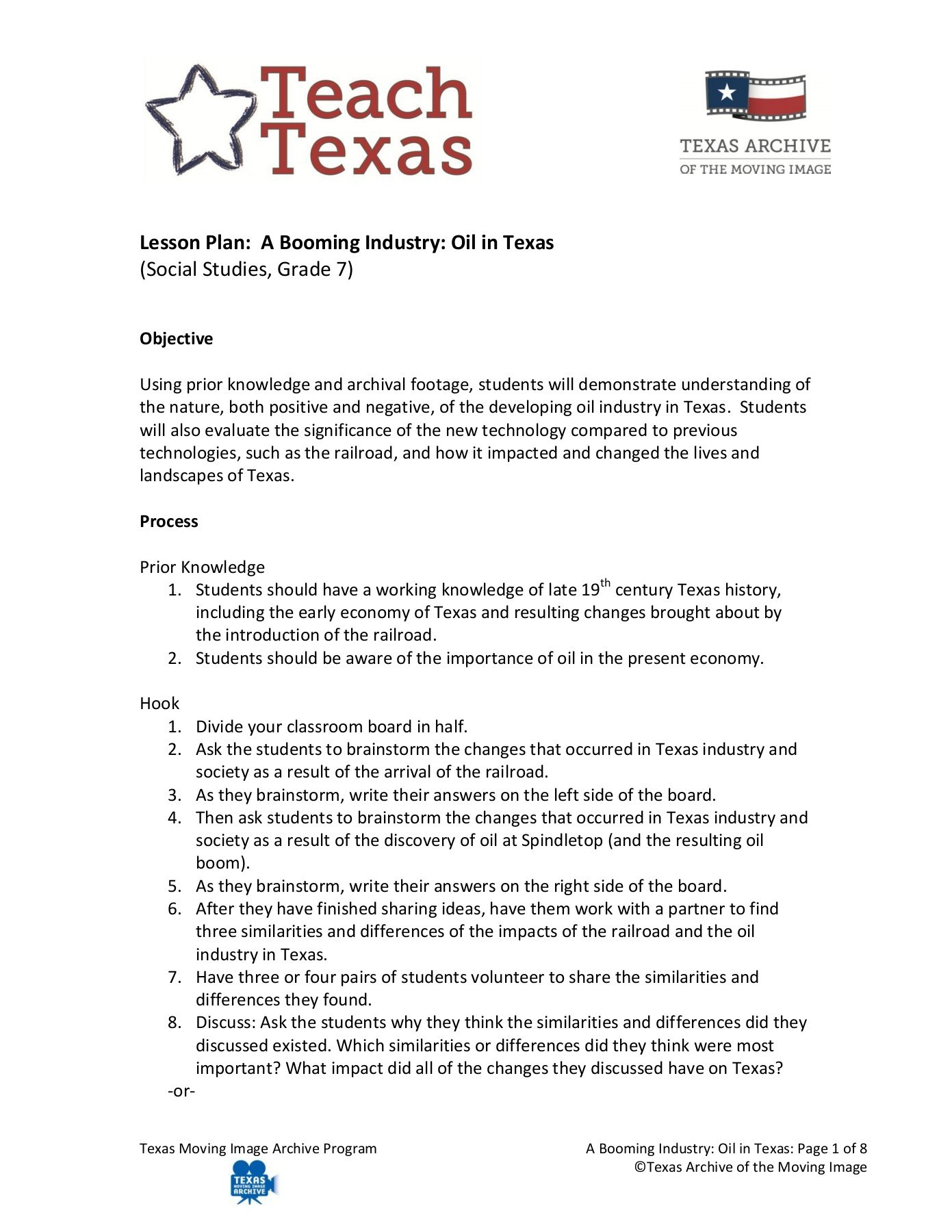 7th Grade Texas History Worksheets Lesson Plan A Booming Industry Oil In Texas social