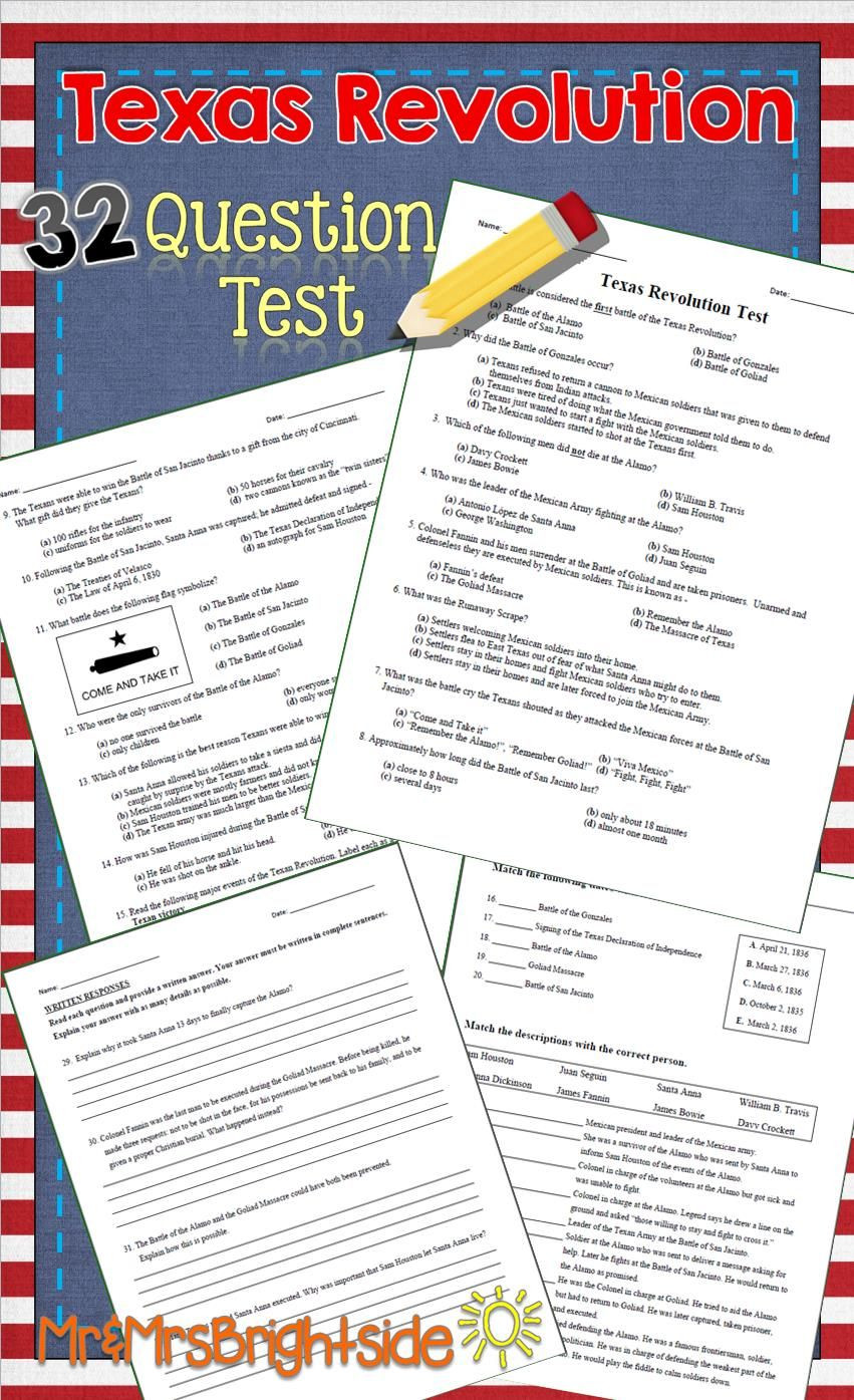 7th Grade Texas History Worksheets Texas Revolution Test