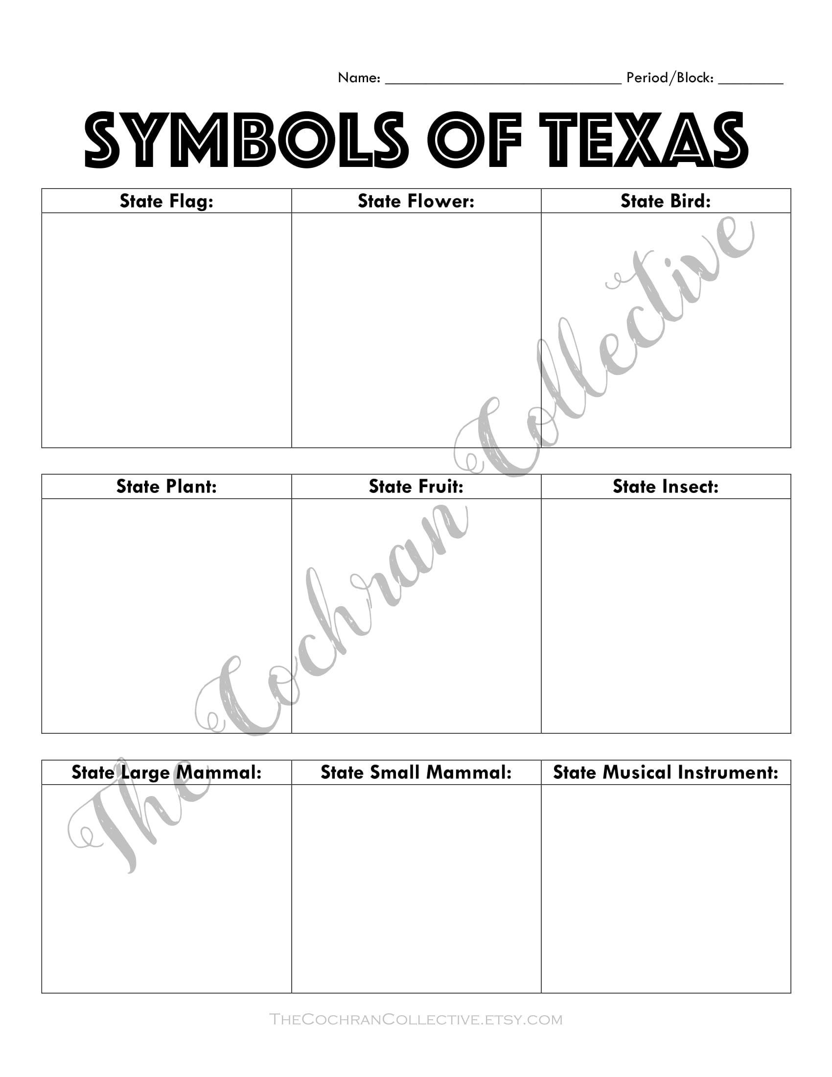 7th Grade Texas History Worksheets Texas State Symbols Worksheet Printable Texas History