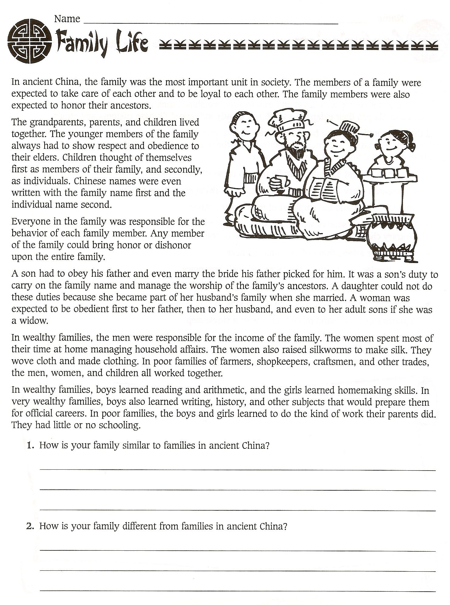 7th Grade World History Worksheets 6th Grade social Stu S Ancient China Worksheets Free