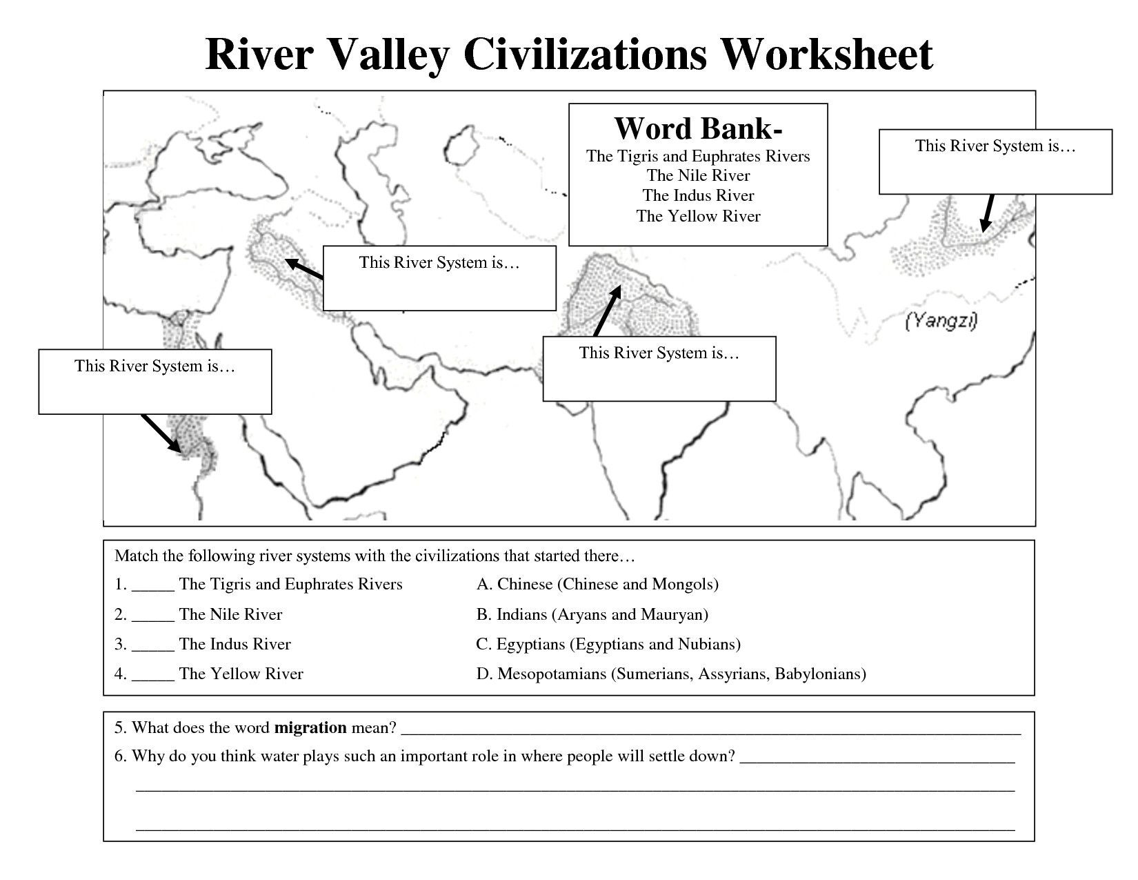7th Grade World History Worksheets River Valley Civilization Map Unique Early Civilizations