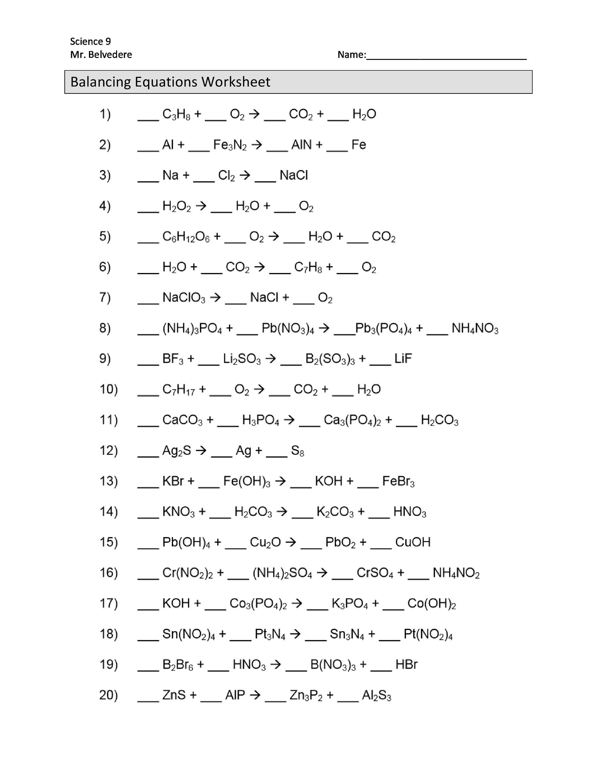 8th Grade Chemistry Worksheets Balancing Chemical Equations Worksheets with Answers 8th