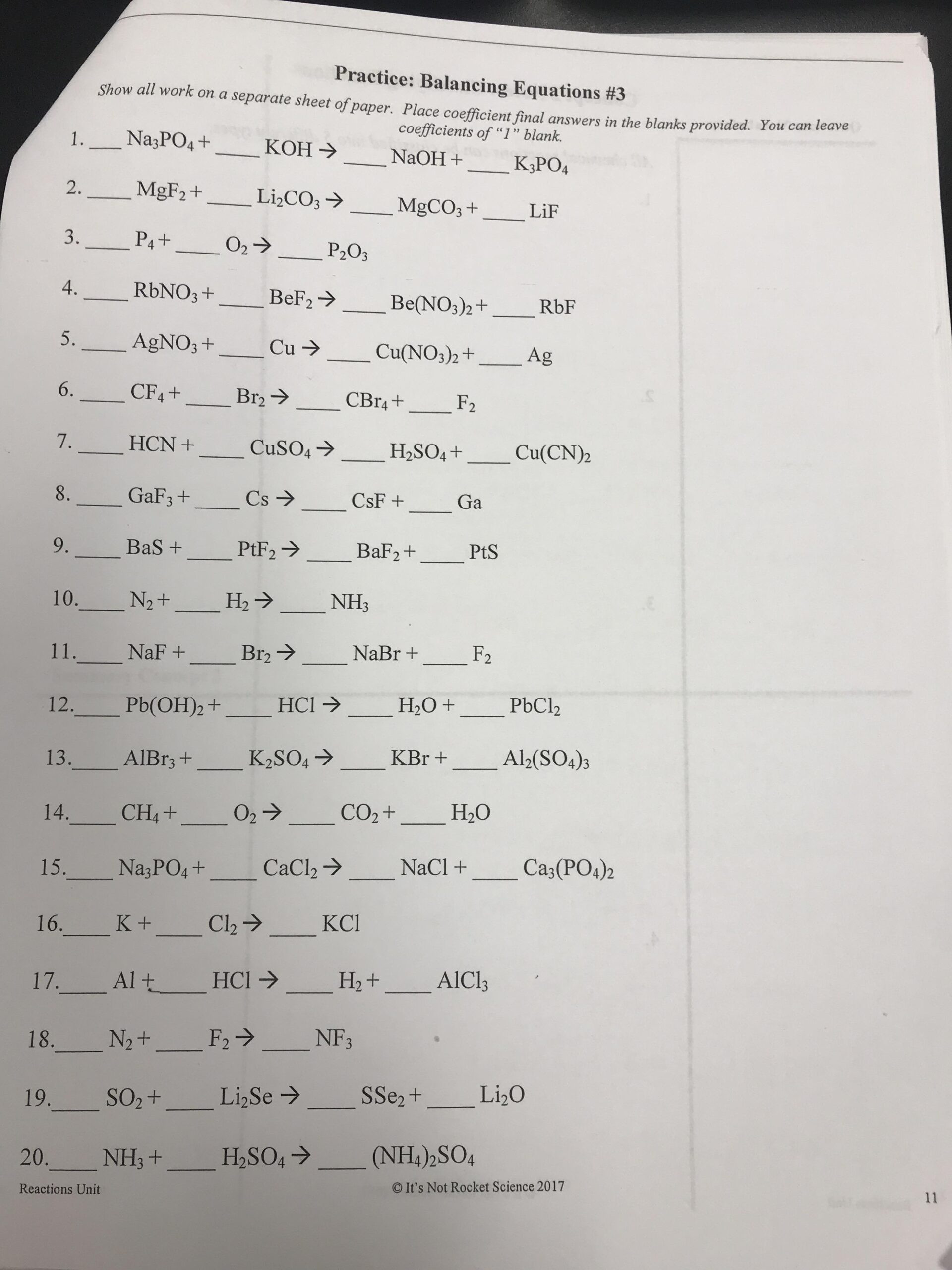 8th Grade Chemistry Worksheets Grade Physical Science Chemical Reactions Balancing
