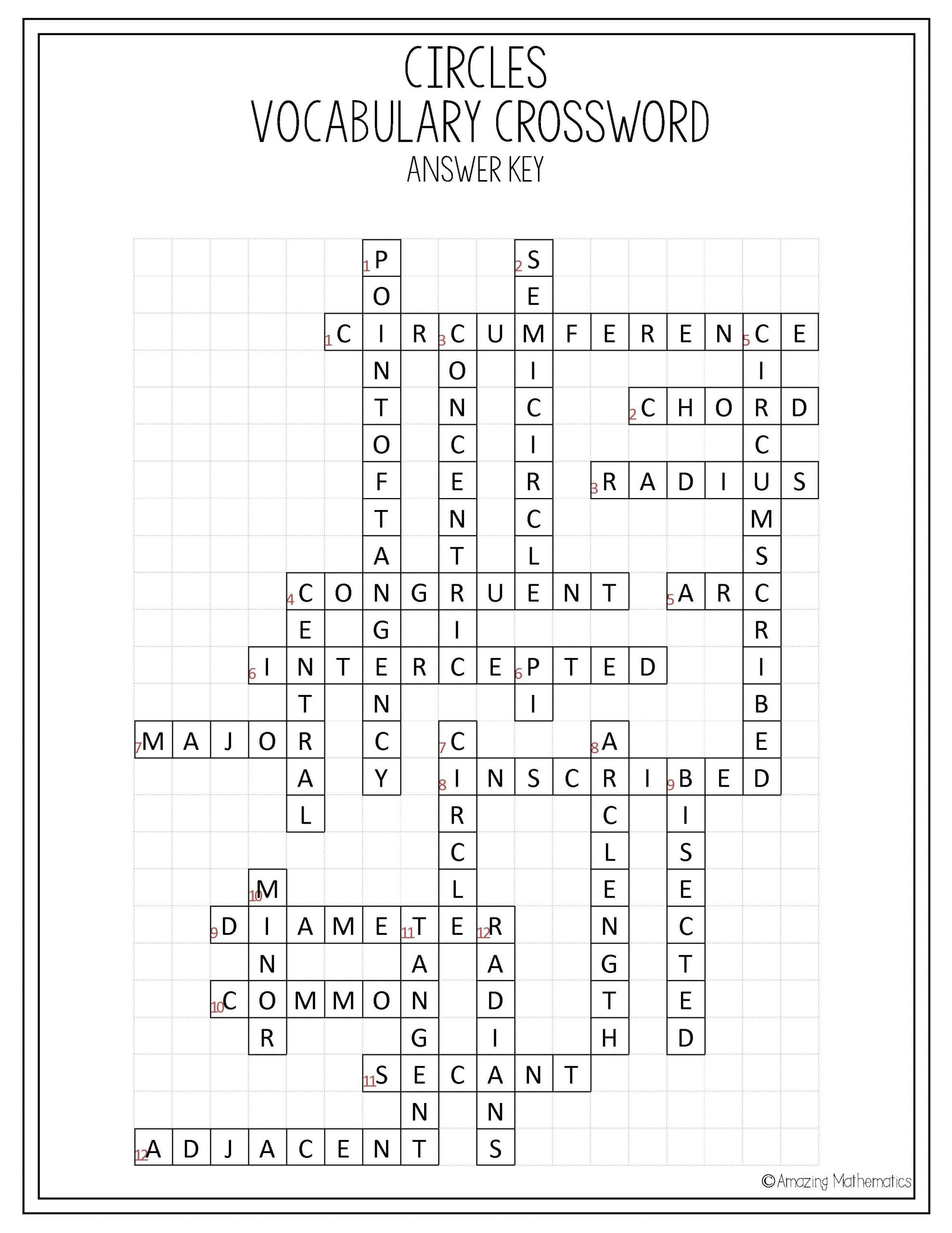 8th Grade Math Vocabulary Crossword Circles Vocabulary Crossword