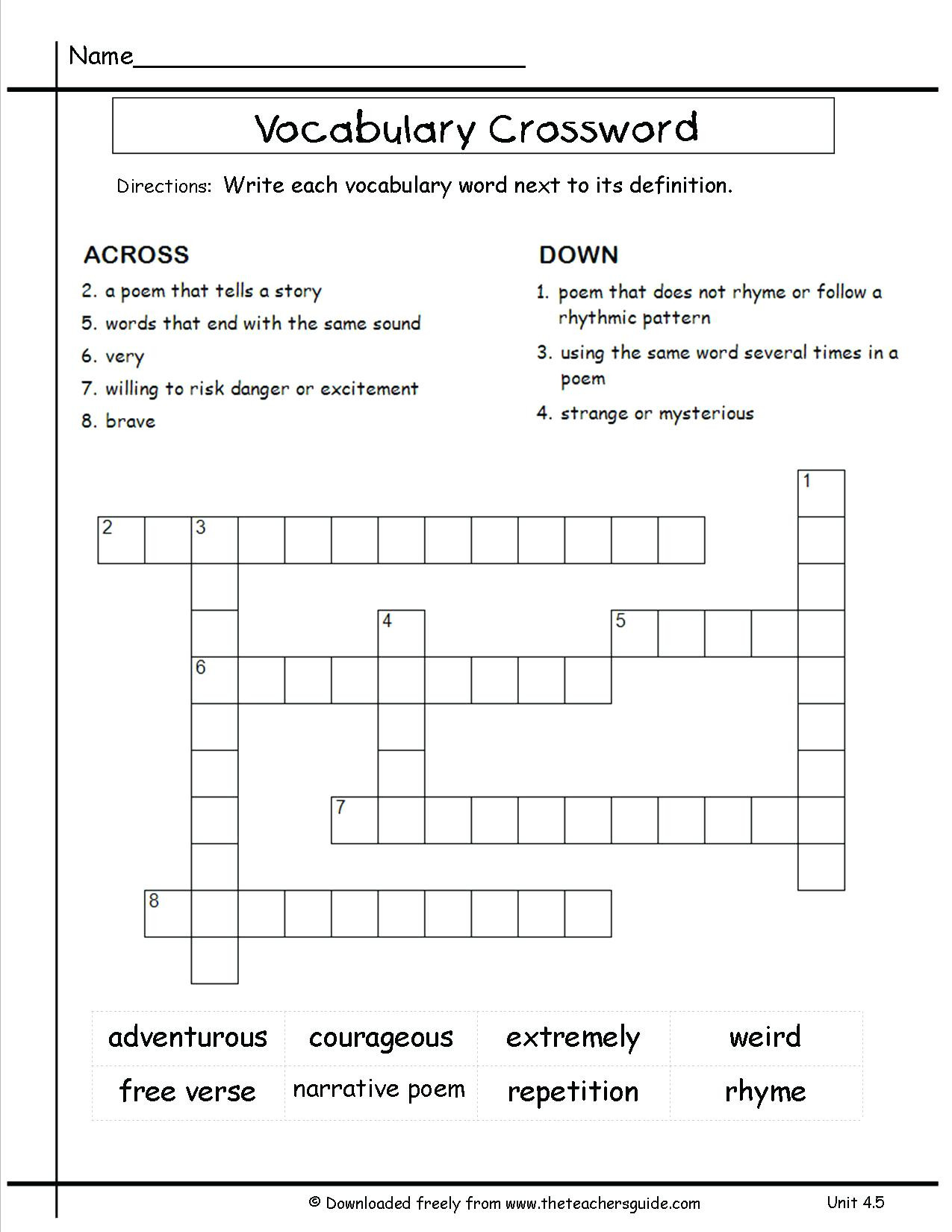 8th Grade Math Vocabulary Crossword Vocab for 3rd Grade – Timothyfregosoub