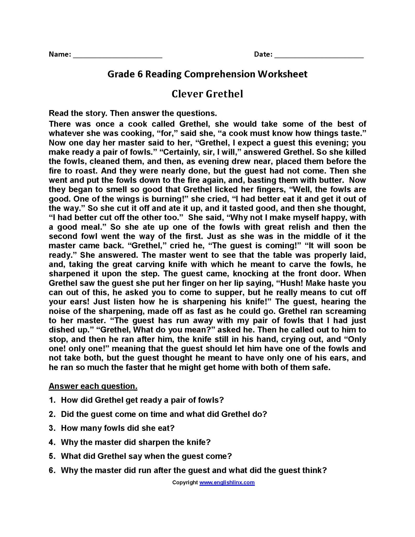 8th Grade Reading Worksheets Reading Prehension Worksheet Grade 8
