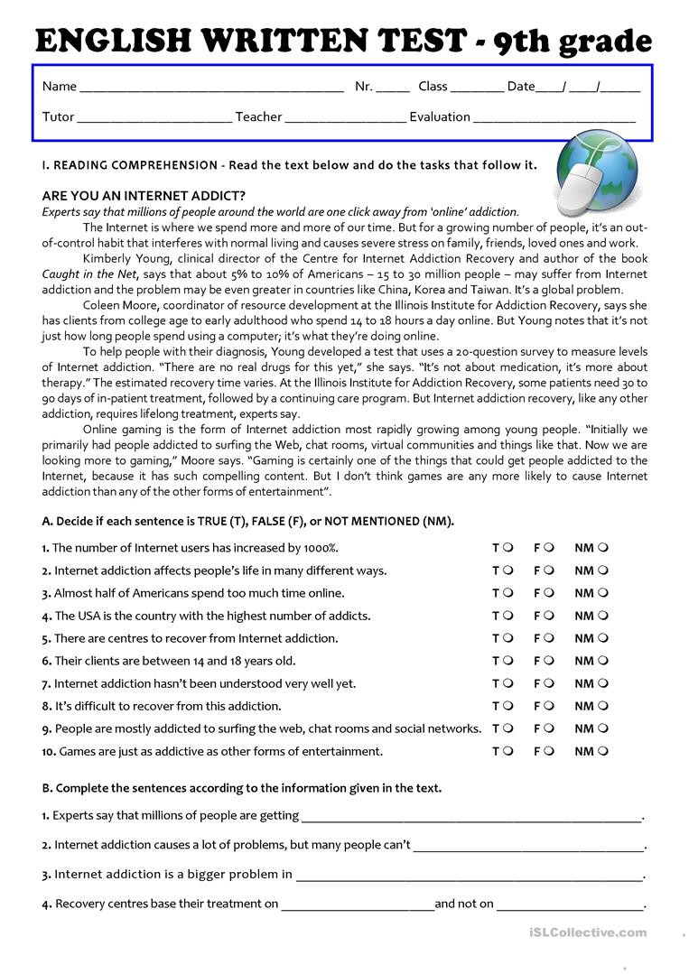 8th Grade Reading Worksheets the Internet Test 9th Grade English Esl Worksheets for