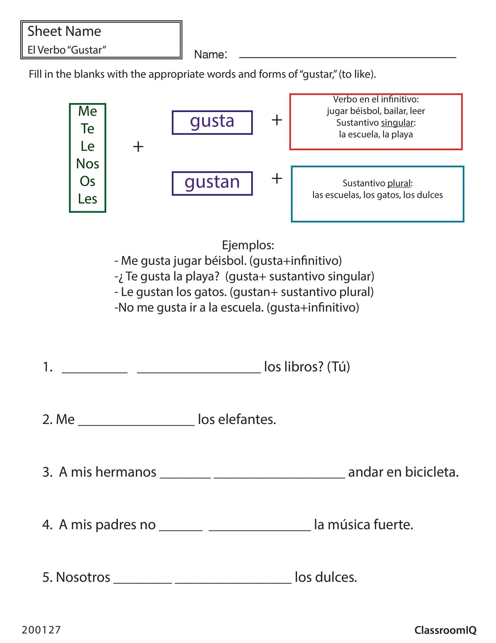 8th Grade Spanish Worksheets Gustar to Like Spanishworksheet Newteachers Printable