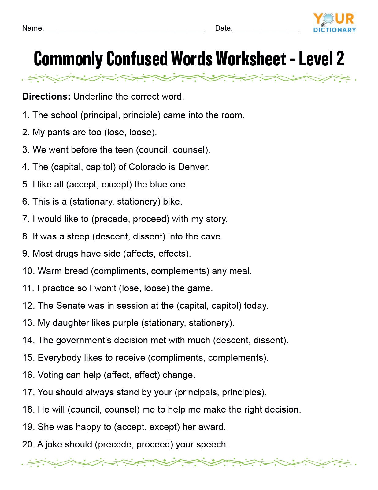8th Grade Spanish Worksheets Monly Confused Words Worksheet