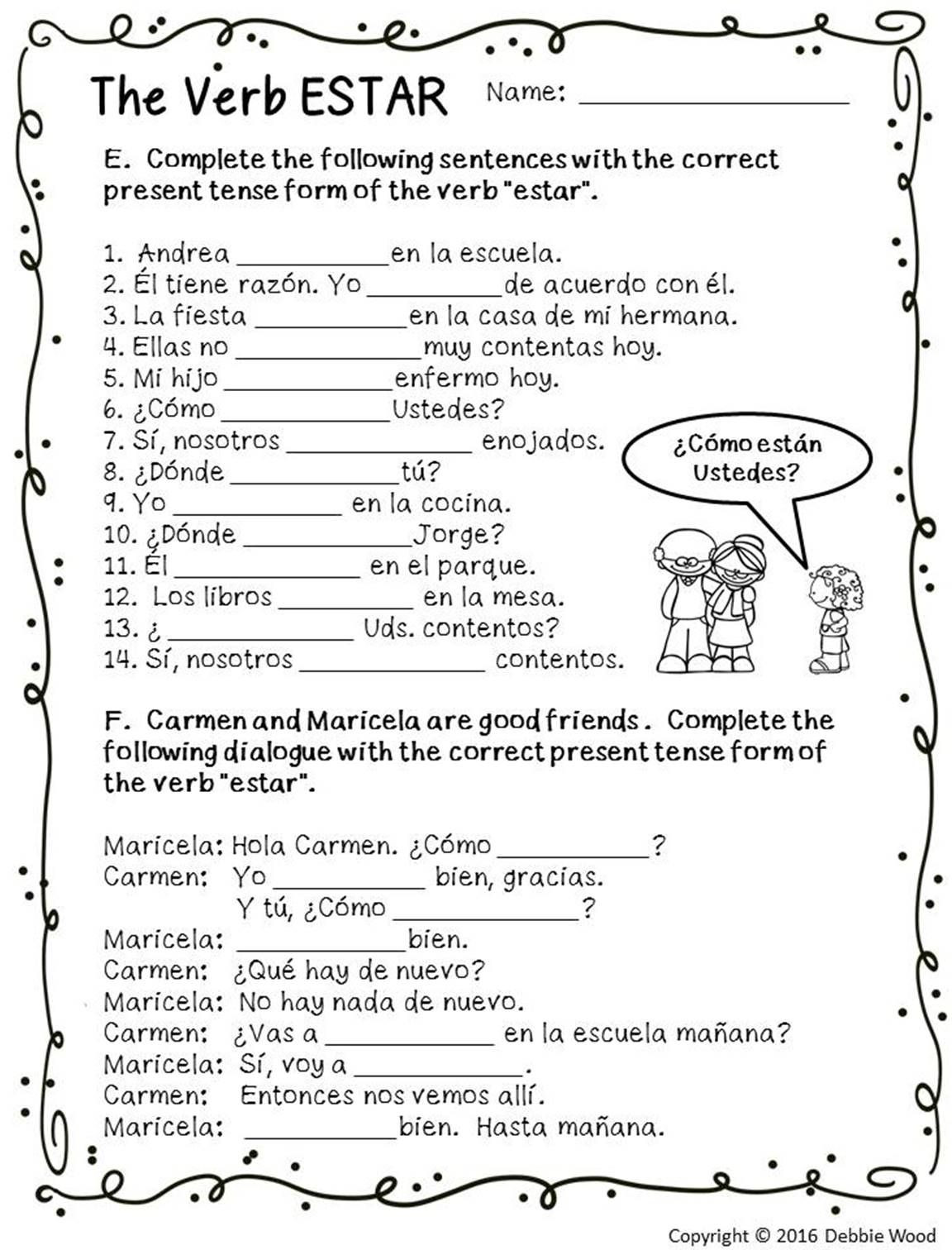 8th Grade Spanish Worksheets Spanish Estar with Emotions
