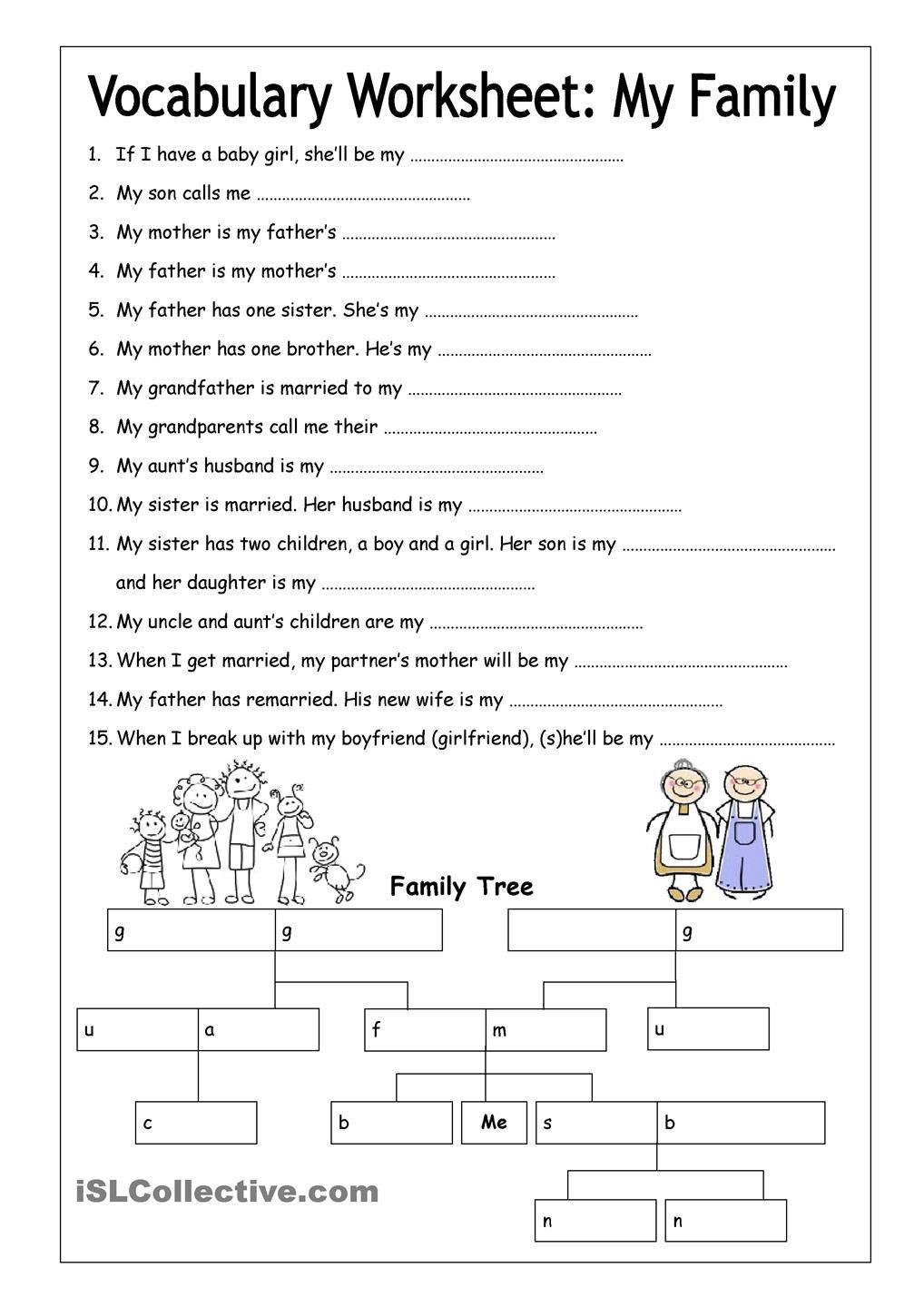 8th Grade Vocabulary Worksheets Pdf Vocabulary Worksheet My Family Medium